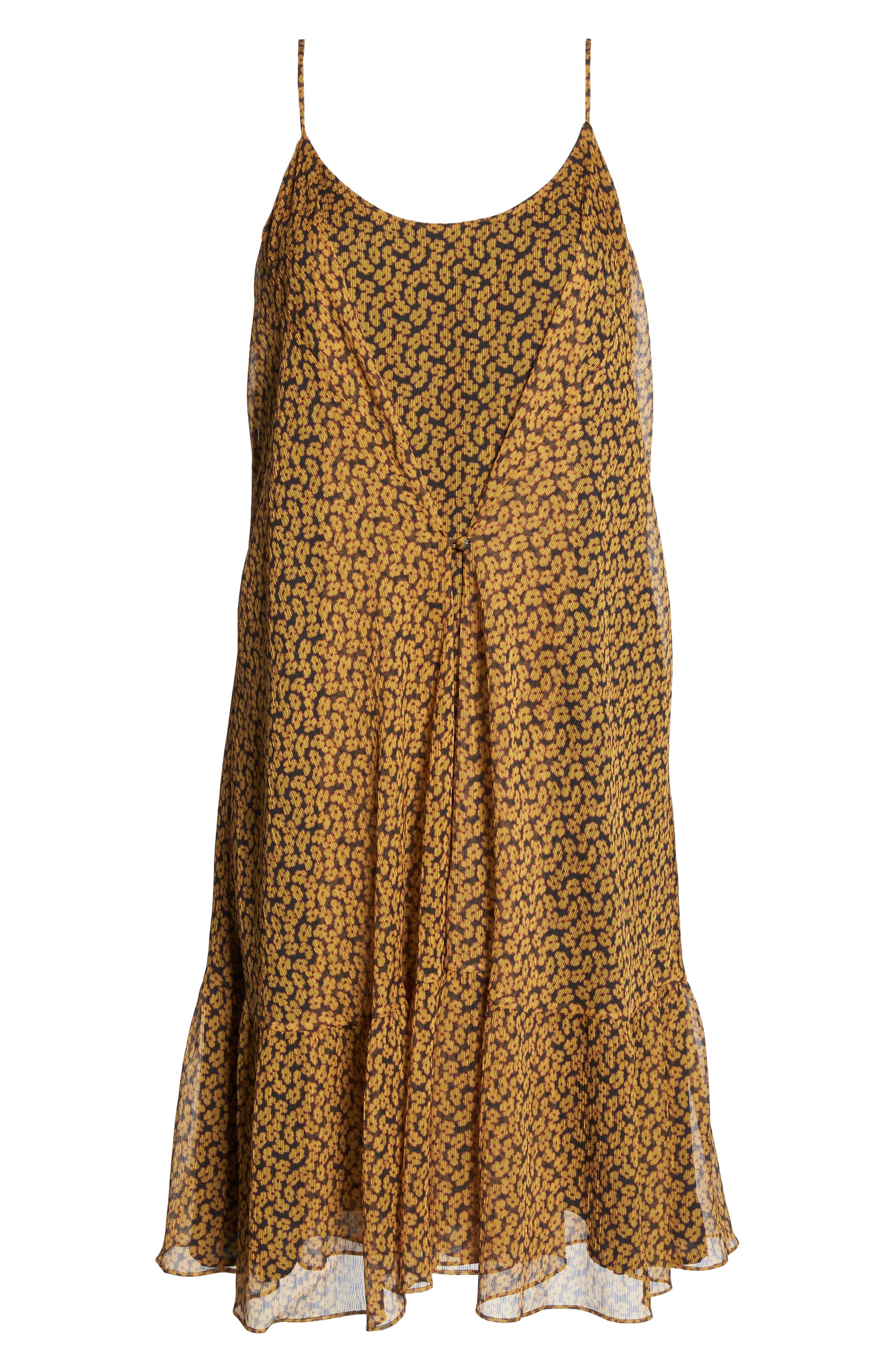 Floral Chiffon Tank Dress,                             Alternate thumbnail 7, color,                             MARIGOLD
