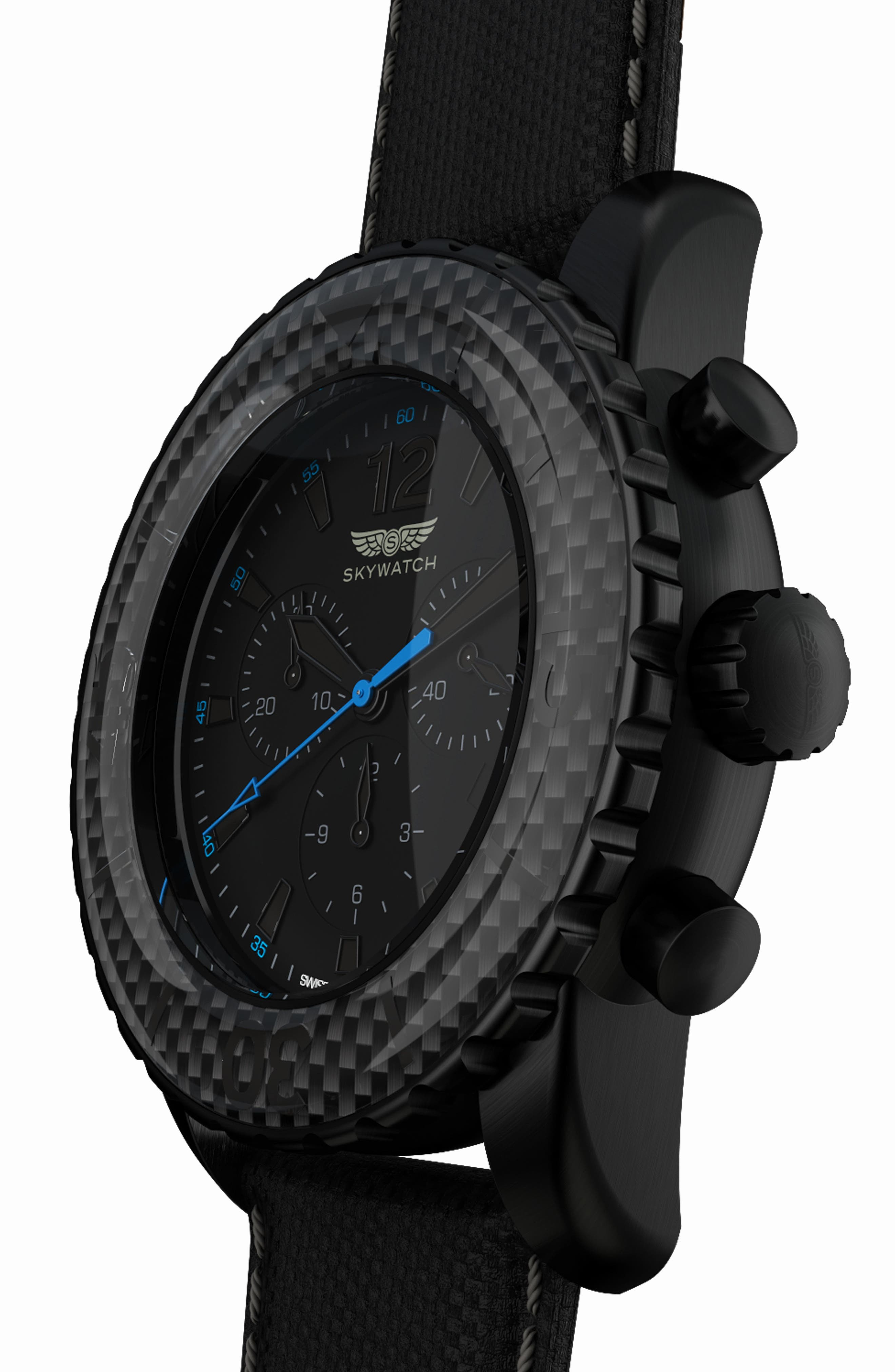 Classic Chronograph Woven Strap Watch, 46mm,                             Alternate thumbnail 4, color,                             BLACK/ BLACK