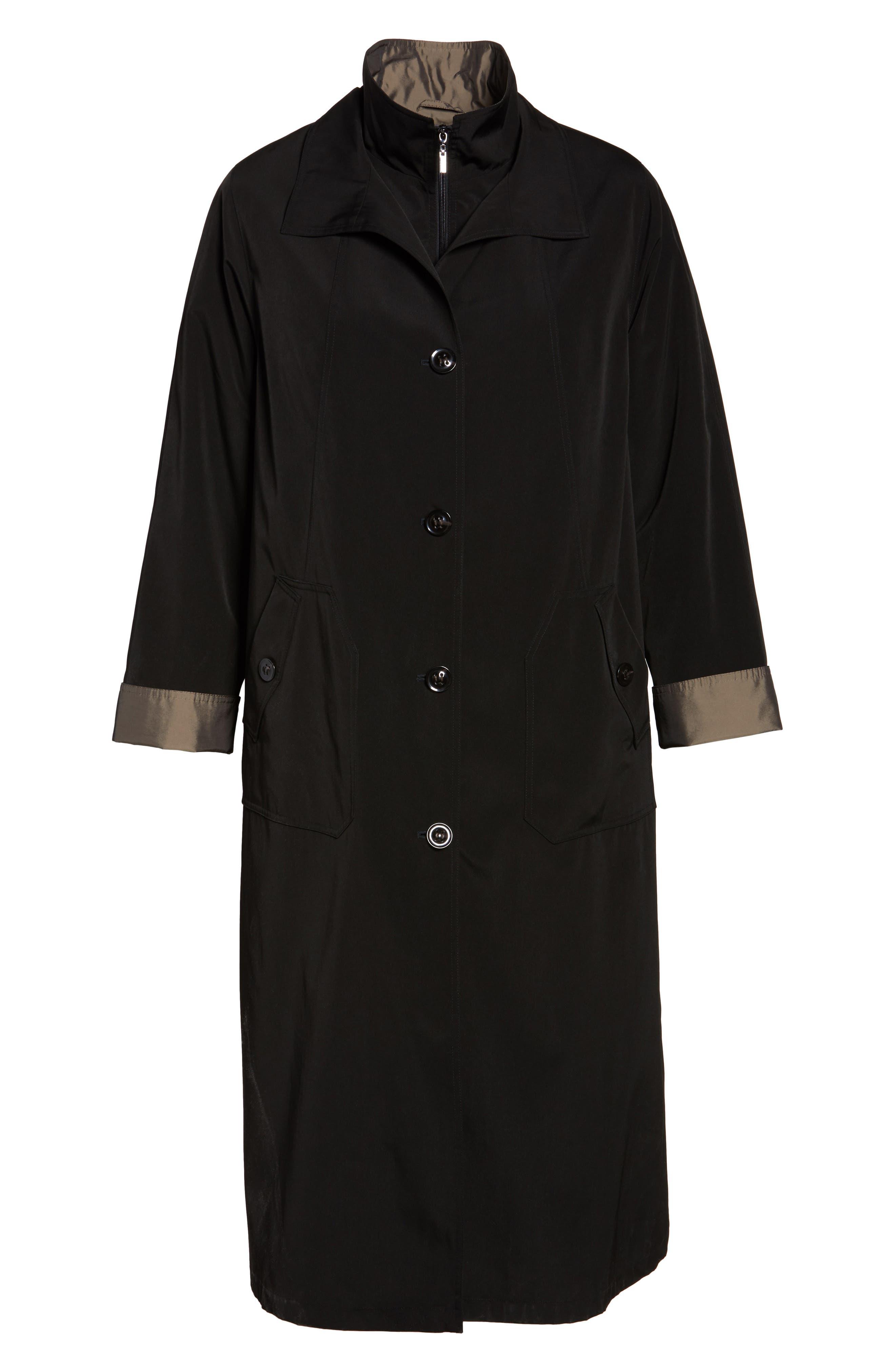 Long Raincoat with Detachable Hood & Liner,                             Alternate thumbnail 5, color,                             BLACK