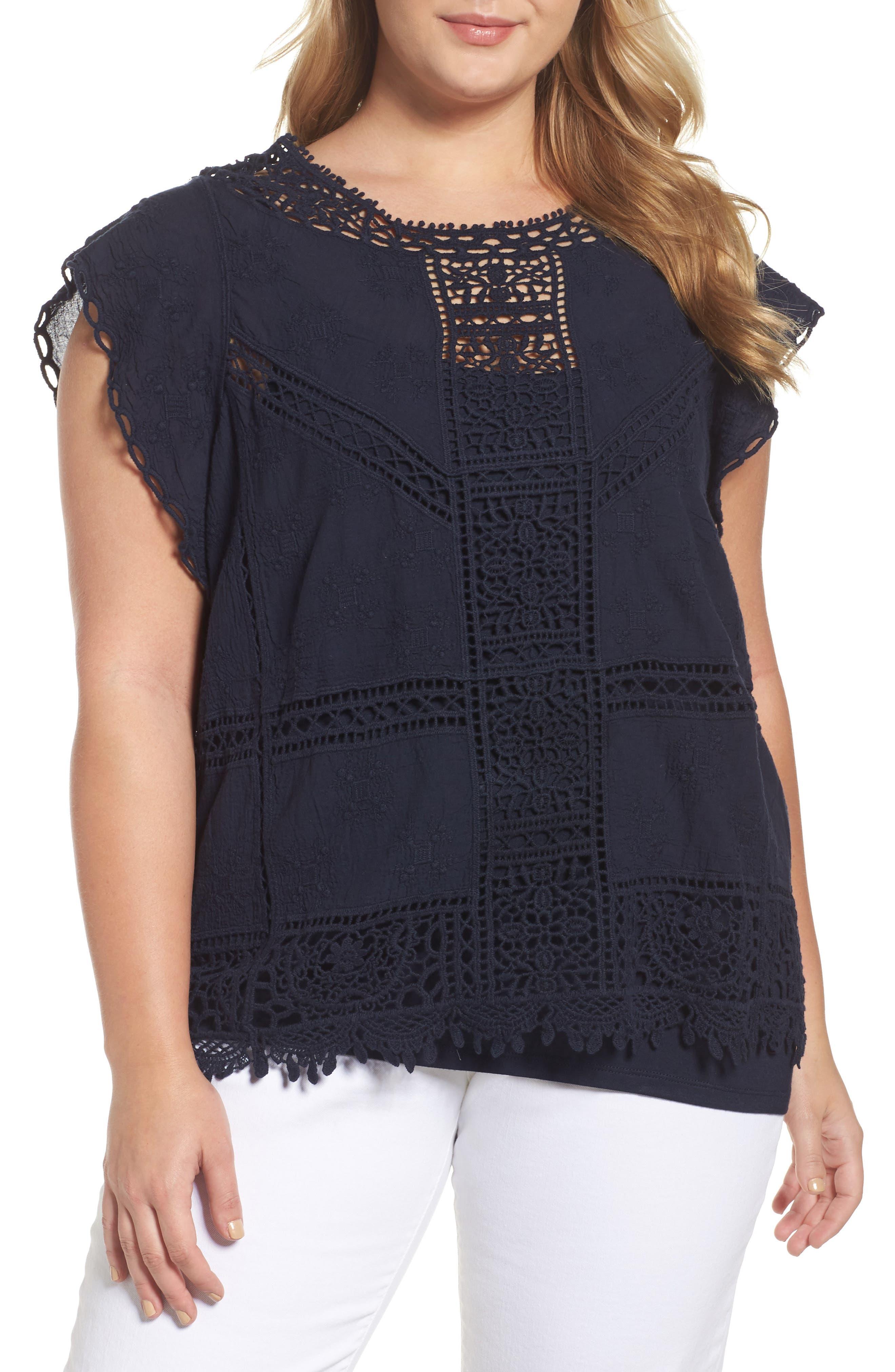 Flutter Sleeve Crochet Top,                         Main,                         color,