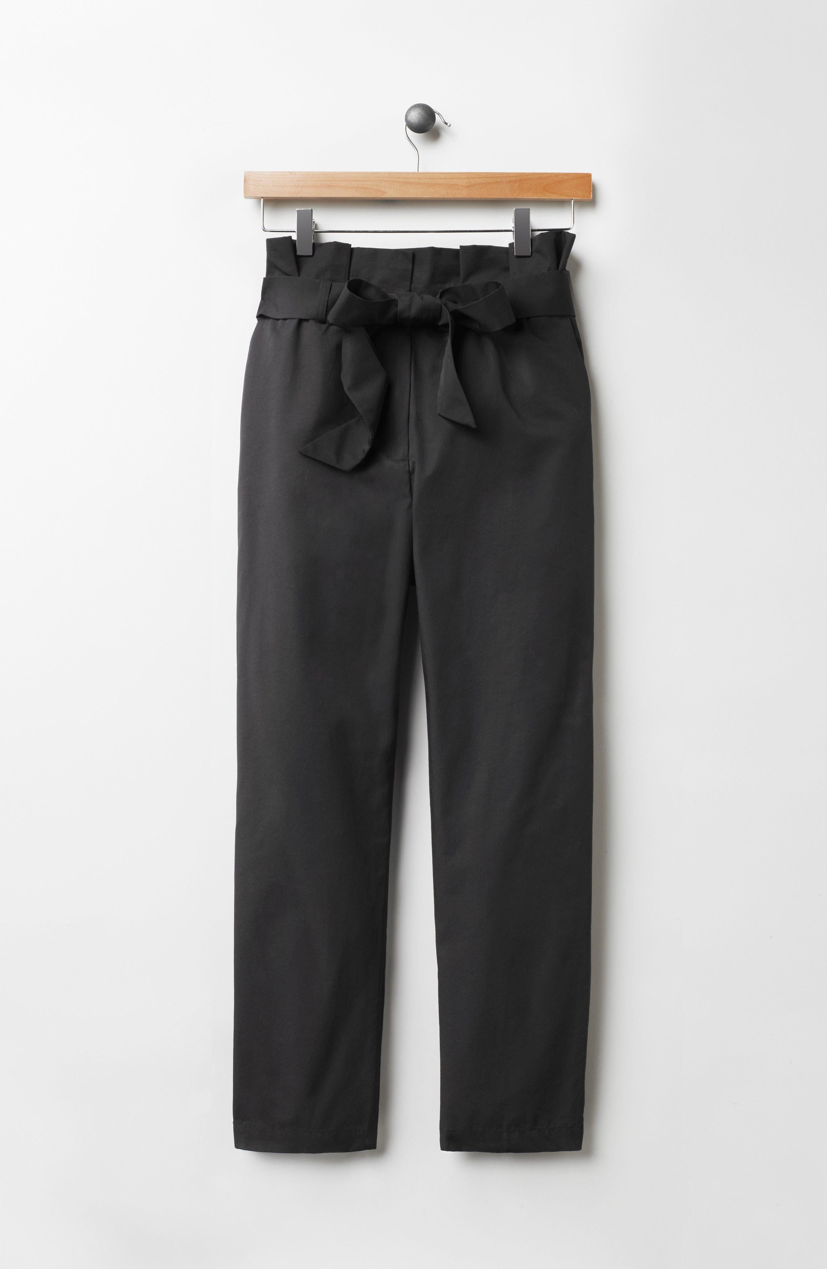 Paperbag Tie Waist Pants,                             Alternate thumbnail 8, color,                             001