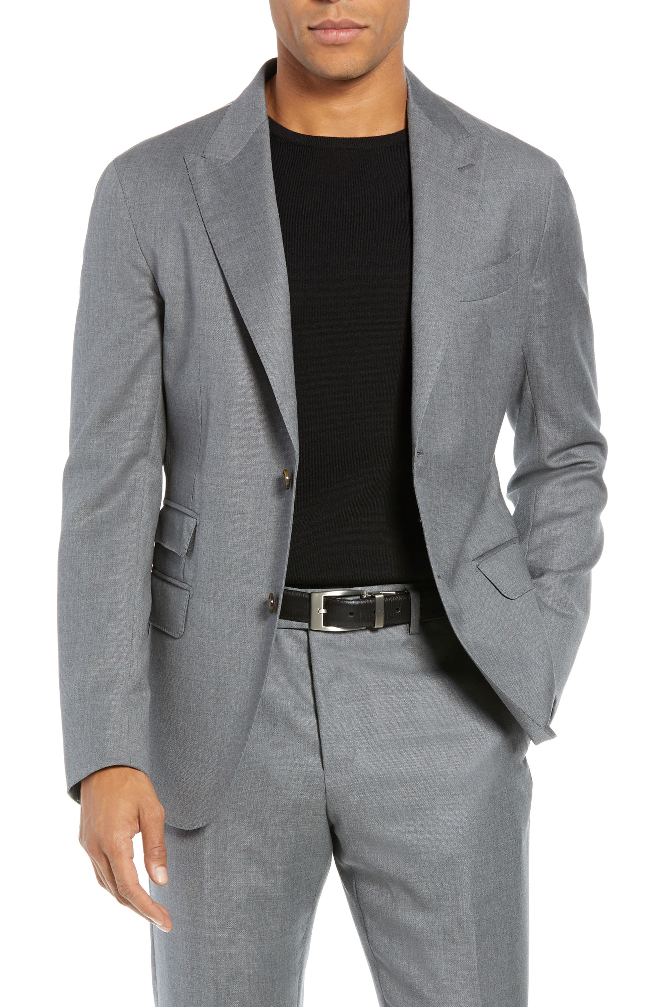 Trim Fit Wool Suit,                             Alternate thumbnail 5, color,                             LIGHT GREY