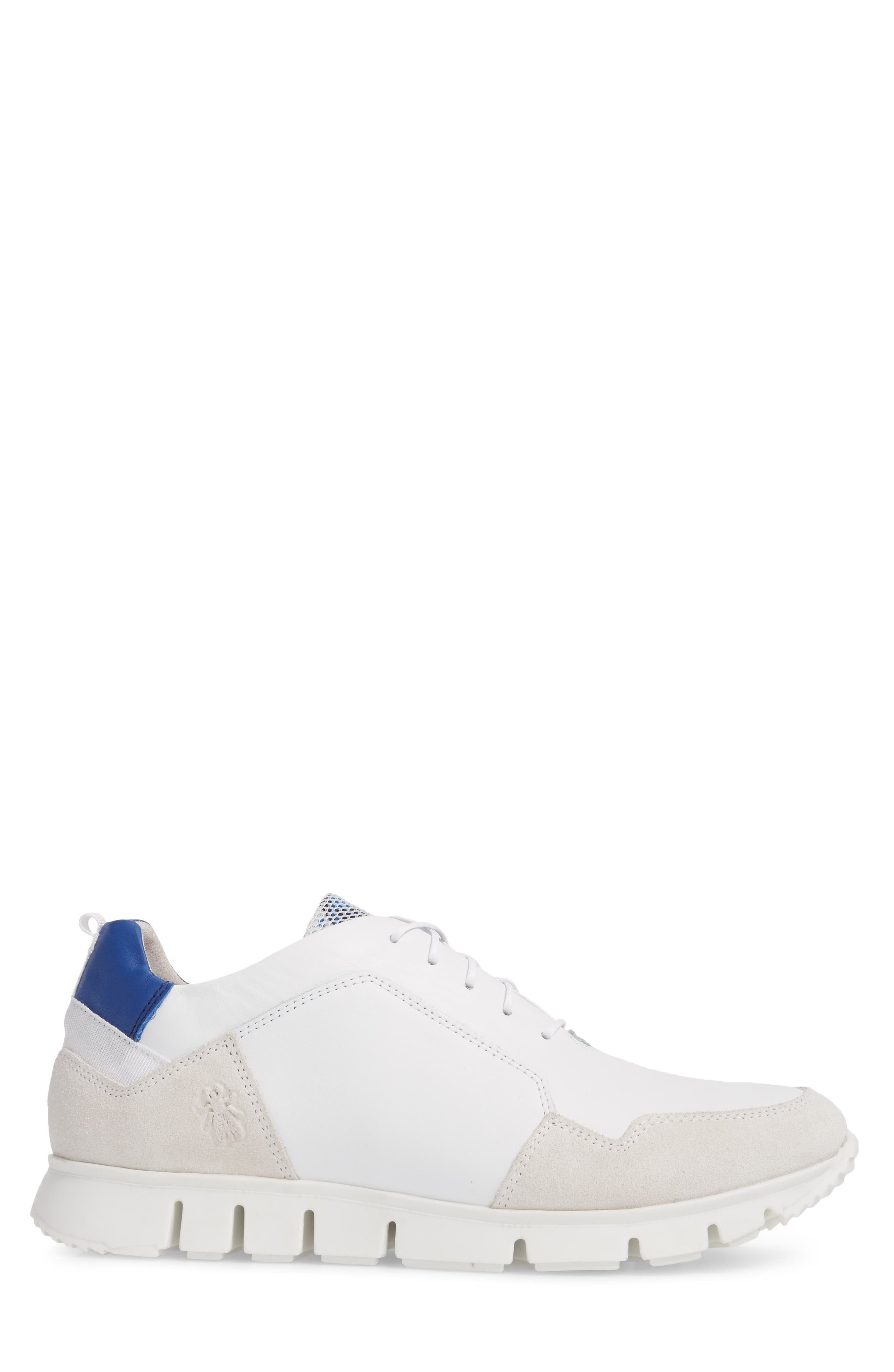 Sild Low Top Sneaker,                             Alternate thumbnail 3, color,                             WHITE SUEDE/ LEATHER