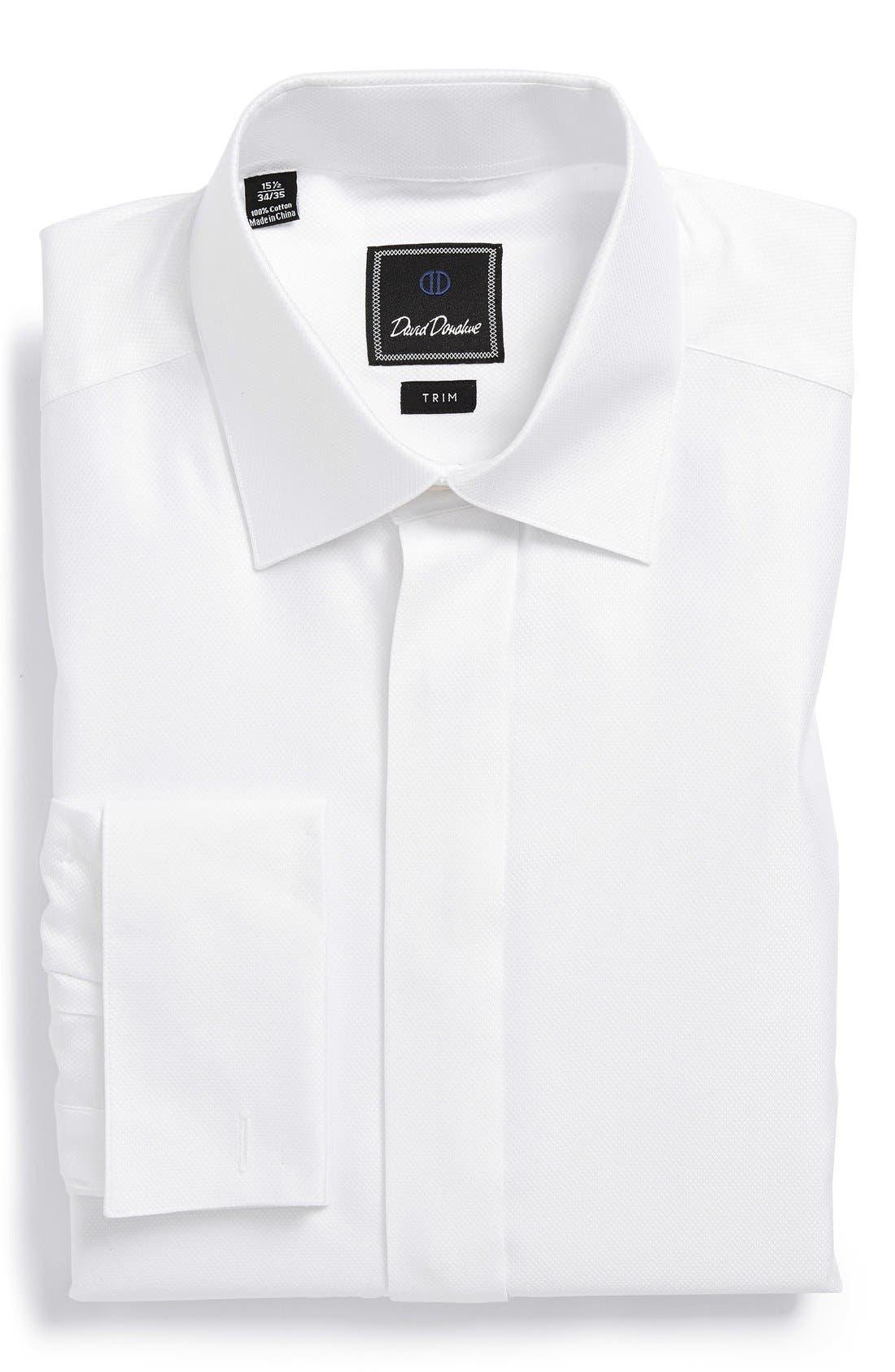 Trim Fit French Cuff Tuxedo Shirt,                             Main thumbnail 1, color,                             WHITE