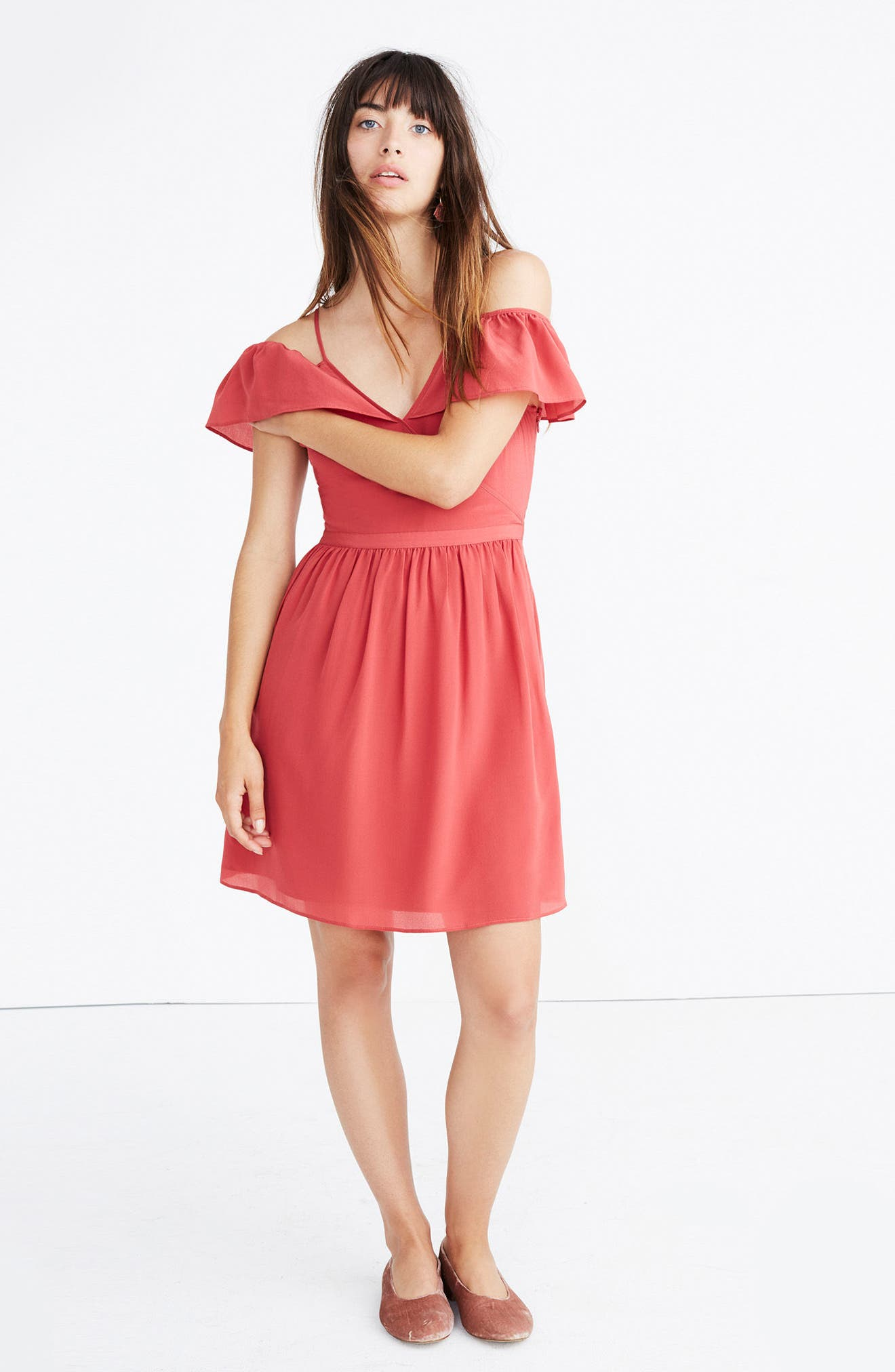 Ruffle Cold Shoulder Silk Dress,                             Alternate thumbnail 5, color,