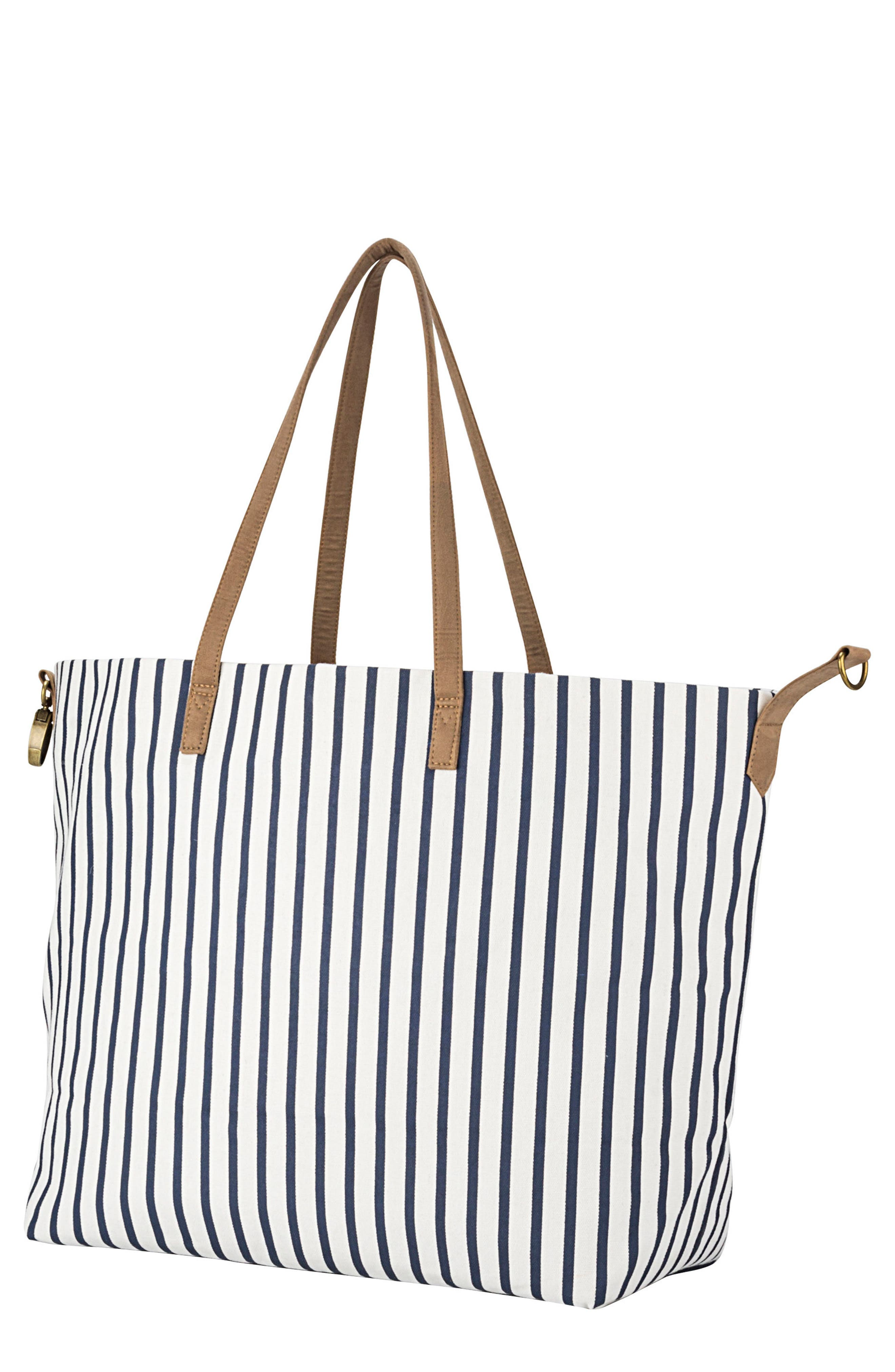 CATHY'S CONCEPTS,                             Monogram Overnight Tote,                             Main thumbnail 1, color,                             BLUE