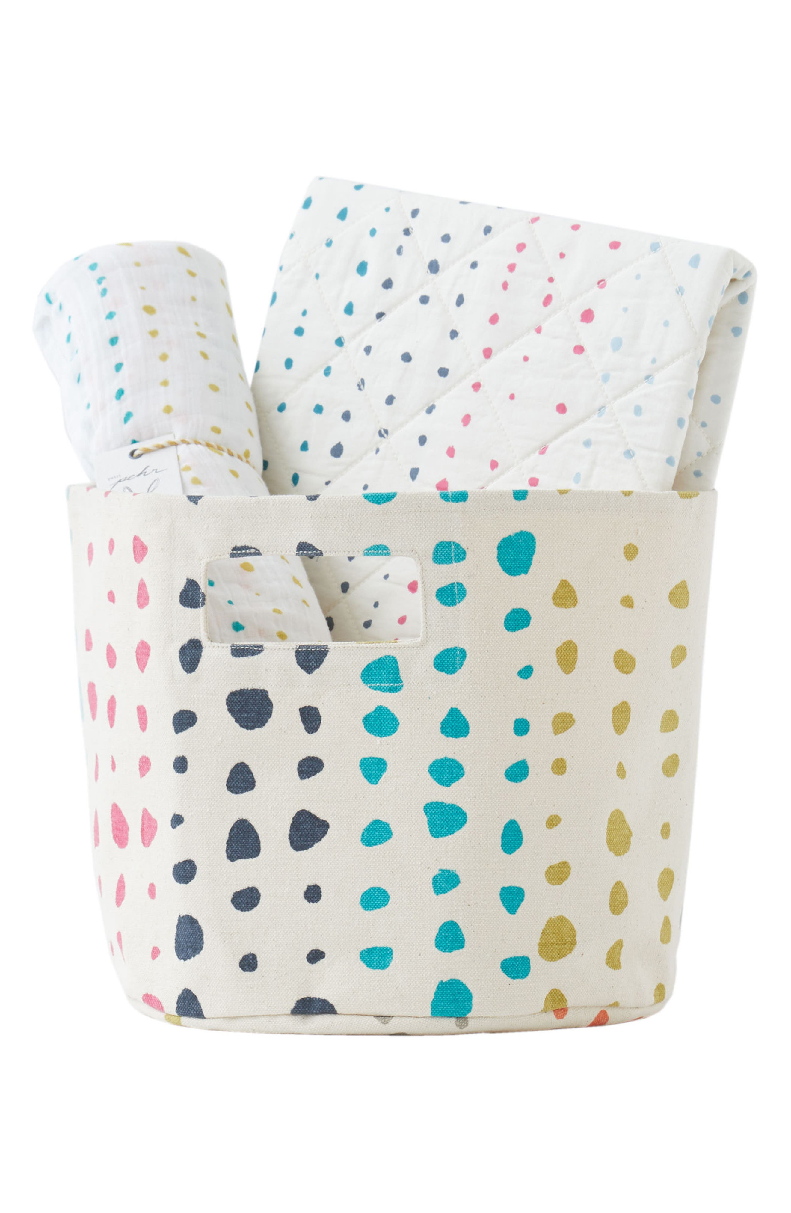 Painted Dots Changing Pad Cover, Swaddle & Bin Set,                             Main thumbnail 1, color,                             900