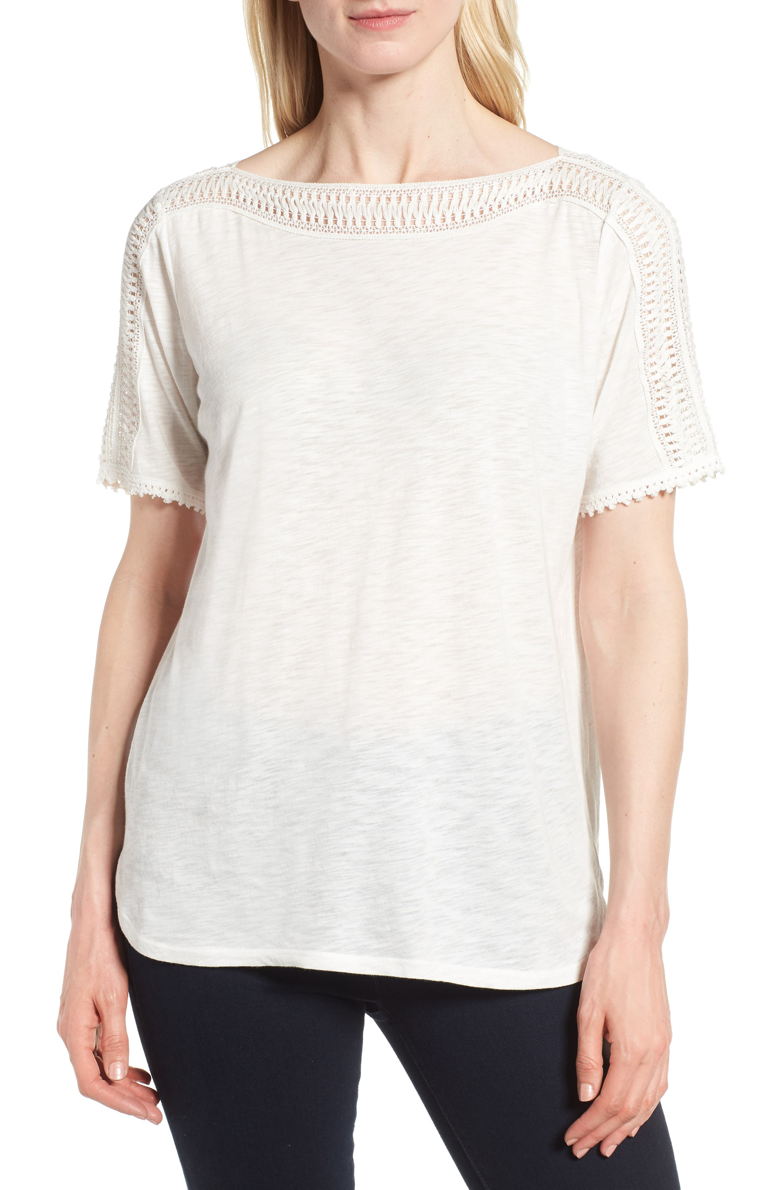 Crochet Trim Boat Neck Top,                         Main,                         color, NEW IVORY