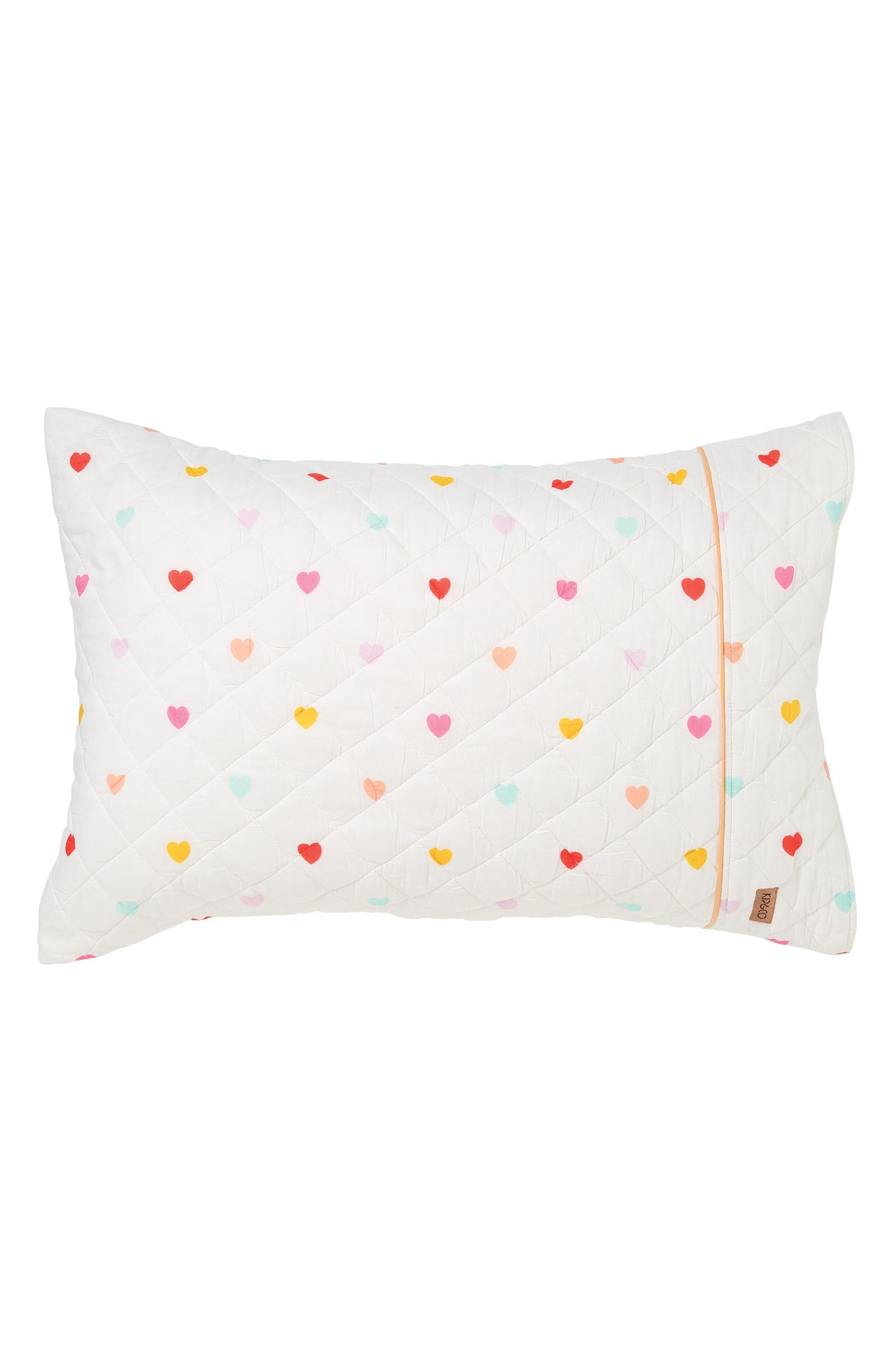 I Heart You Quilted Cotton Pillowcase,                             Main thumbnail 1, color,                             MULTI