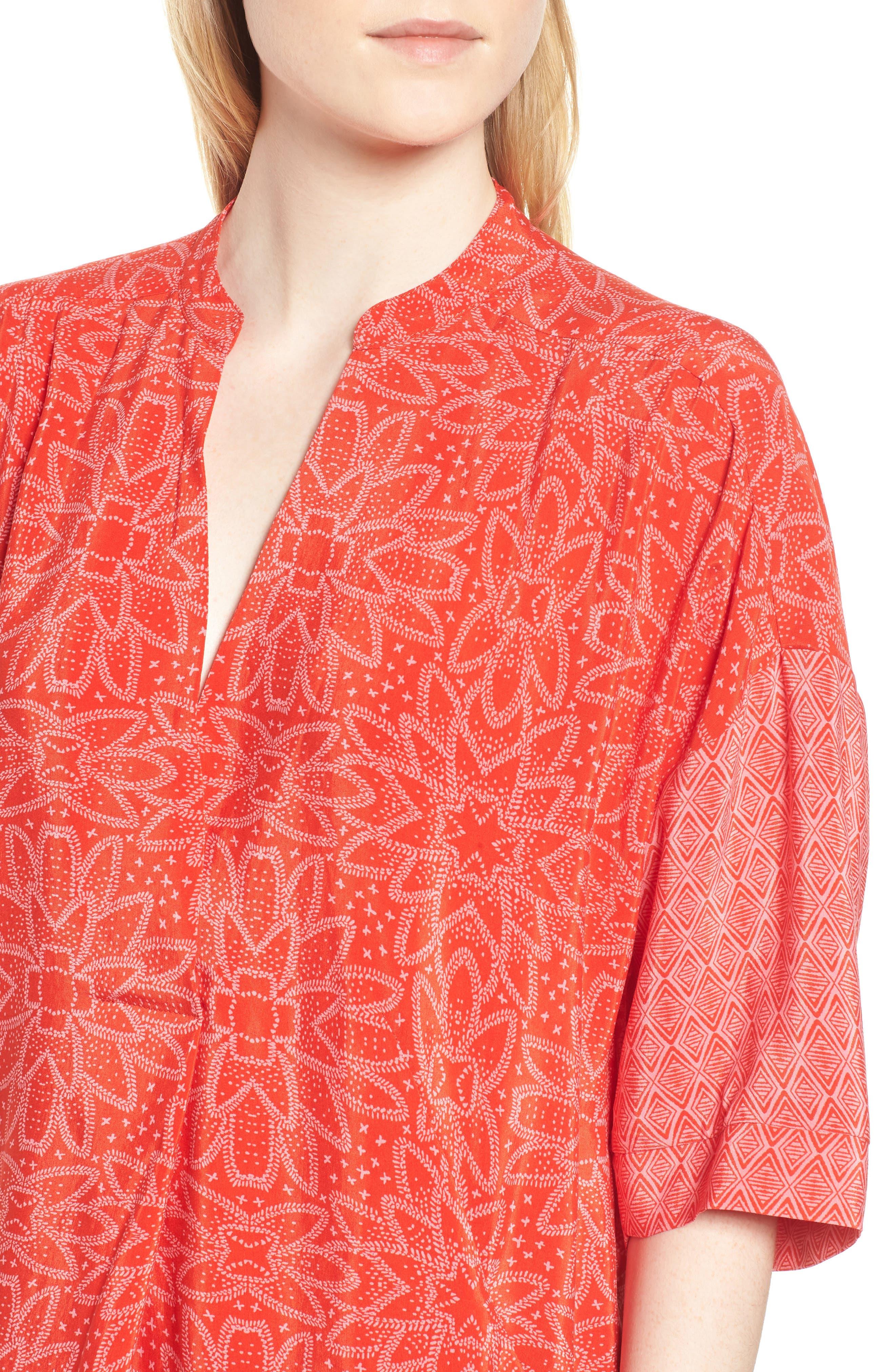 Luna Riya Print Dress,                             Alternate thumbnail 4, color,                             RED/ MULTI