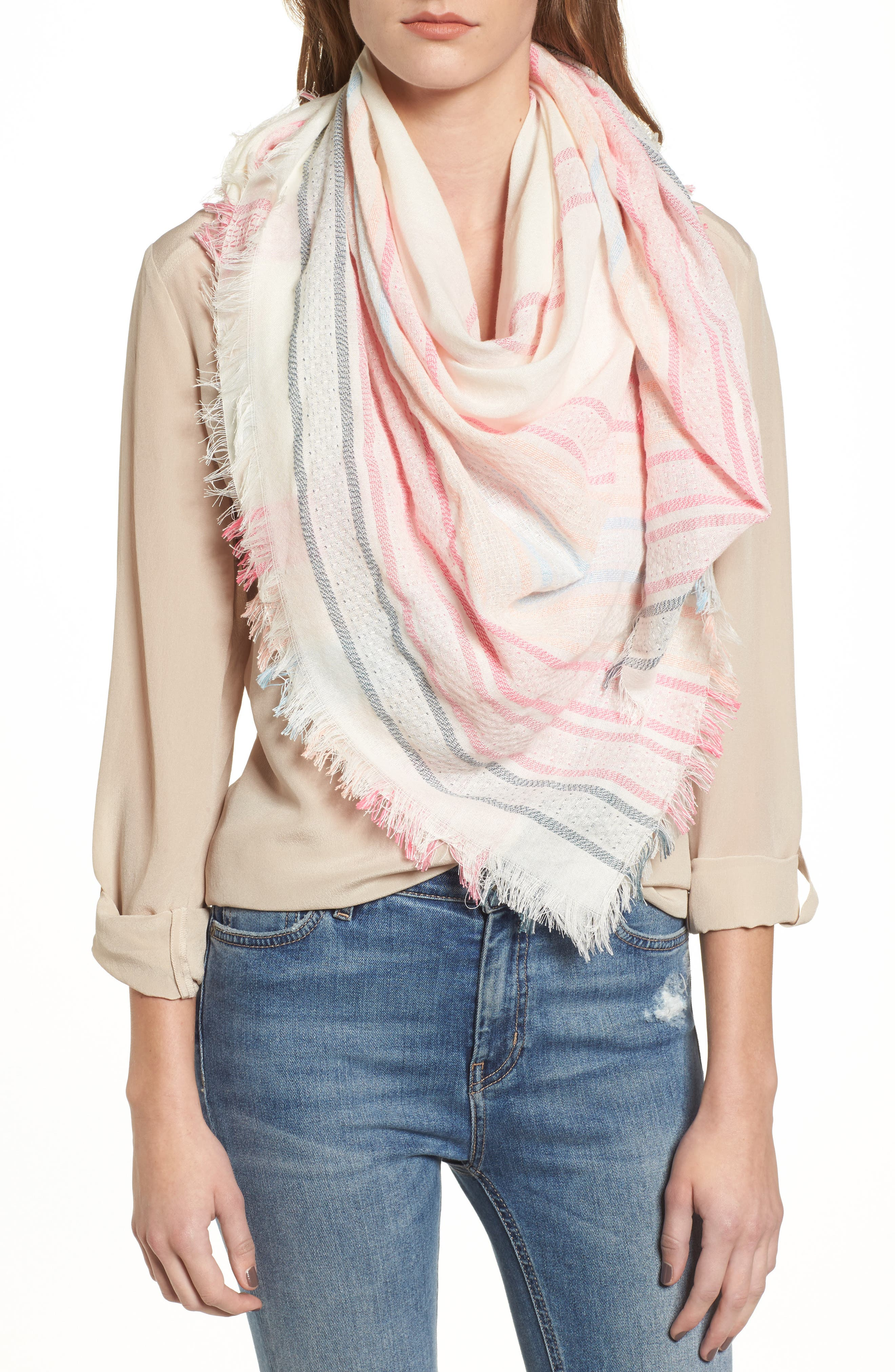 Textured Stripe Square Scarf,                             Main thumbnail 1, color,                             100