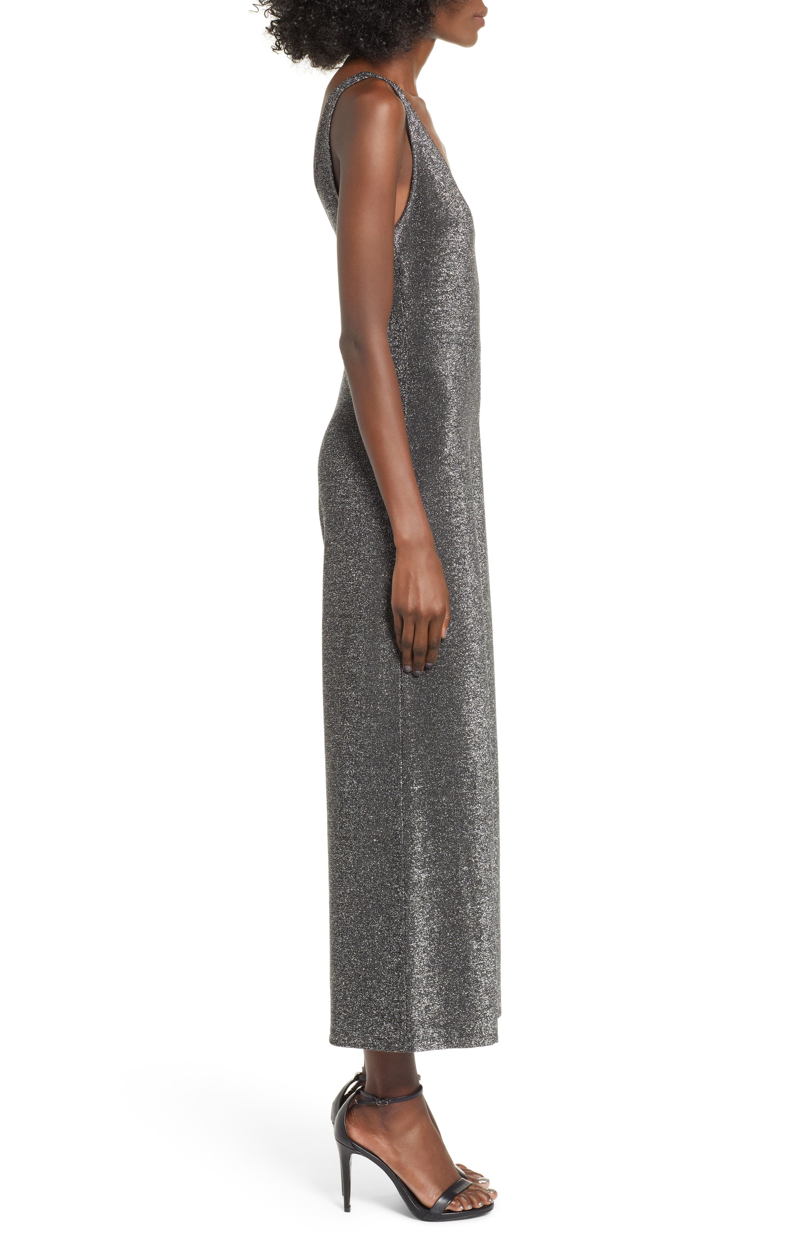 Night Out Metallic Jumpsuit,                             Alternate thumbnail 3, color,                             SILVER METALLIC