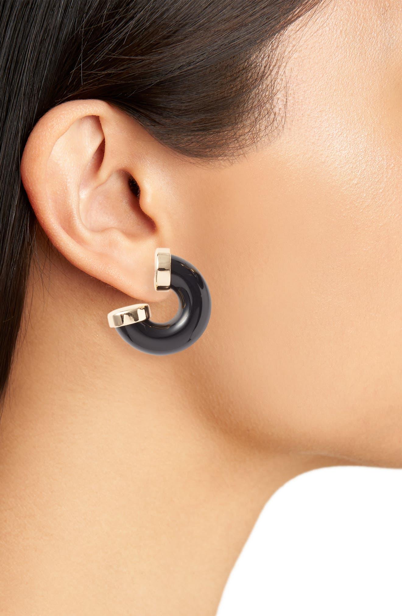 HALOGEN<SUP>®</SUP>,                             Marbled Hoop Earrings,                             Alternate thumbnail 2, color,                             BLACK- GOLD