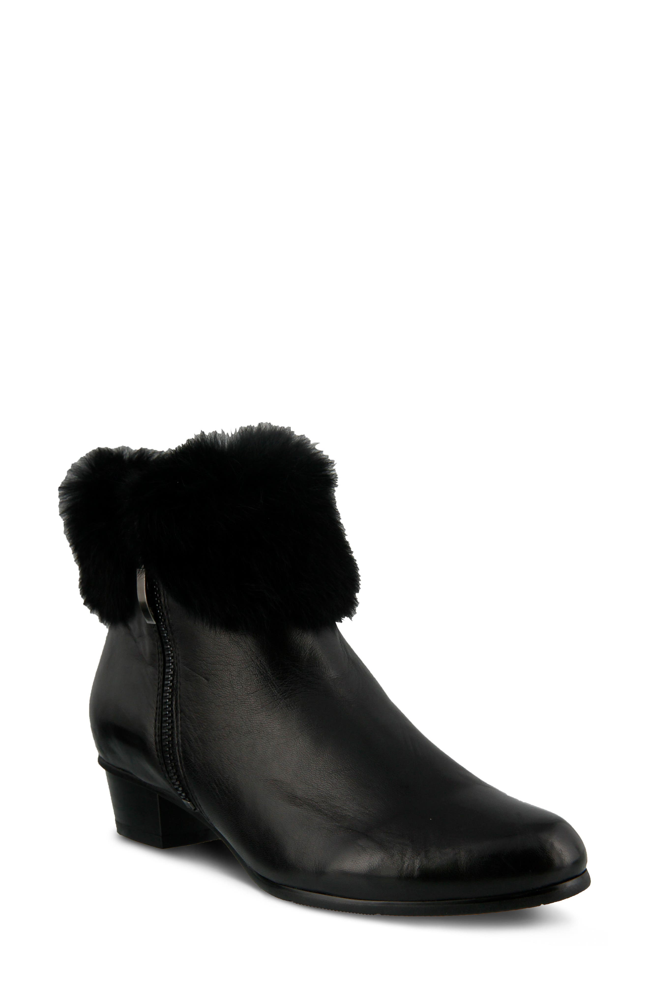 Burnside Faux Fur Trim Bootie,                             Main thumbnail 1, color,                             BLACK LEATHER