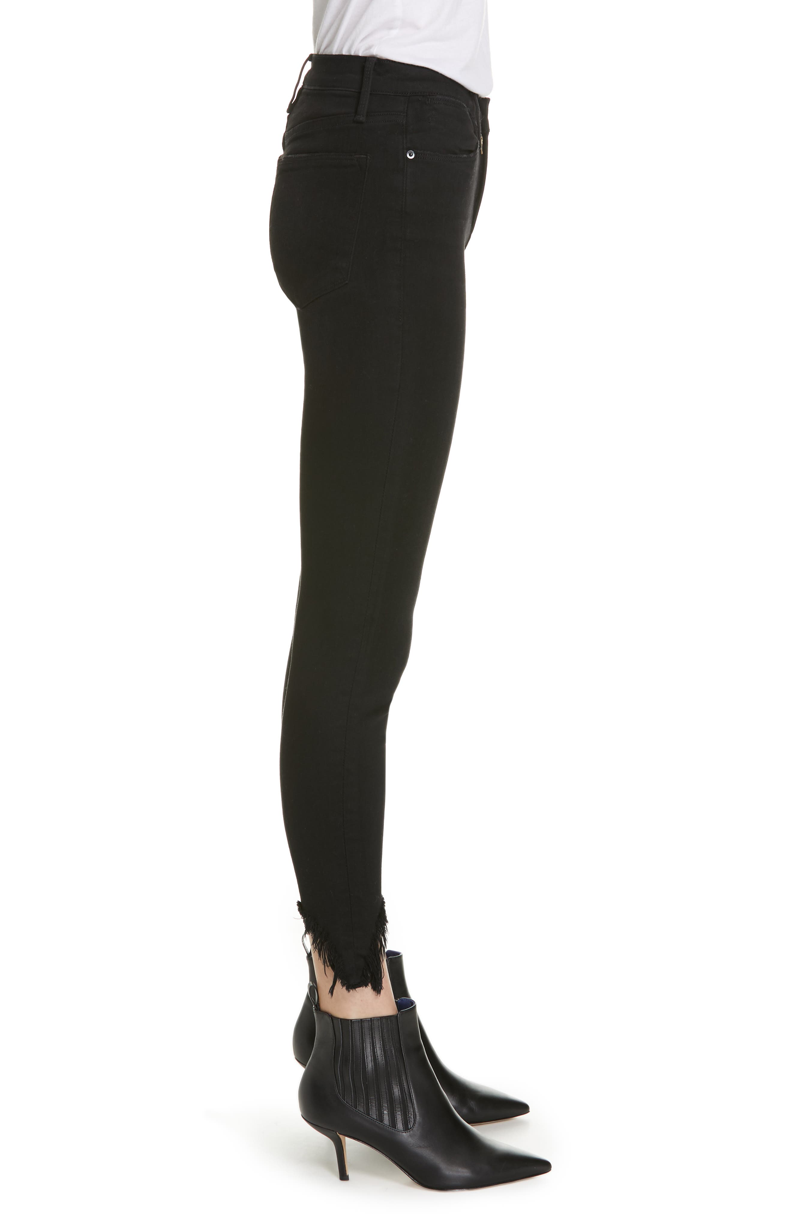 Le High Shredded Curved Hem Skinny Jeans,                             Alternate thumbnail 3, color,                             BLACKFISH