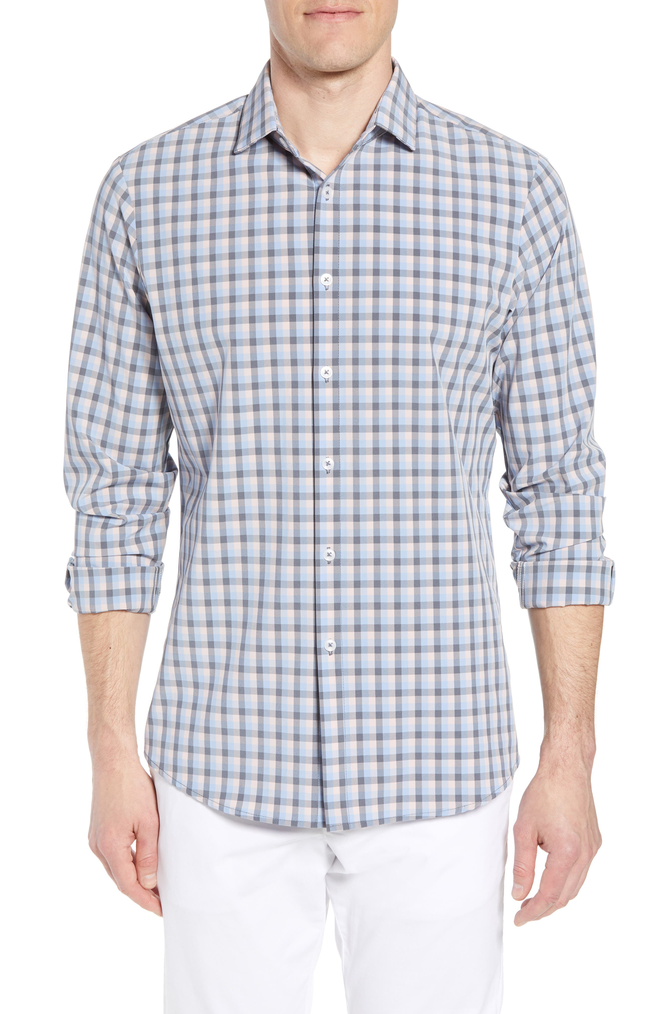 Briscoe Slim Fit Check Performance Sport Shirt,                         Main,                         color, PINK