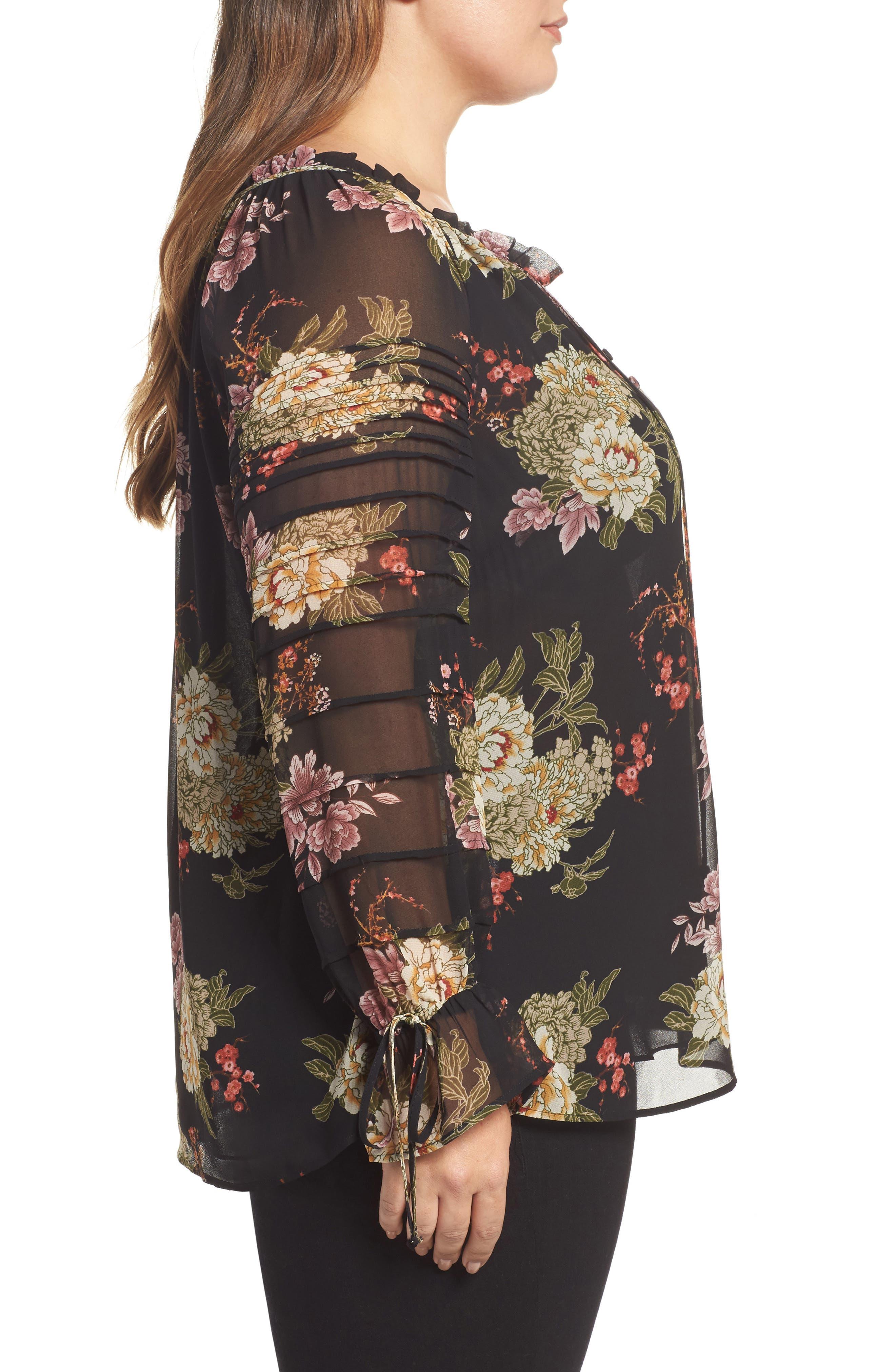 Floral Georgette Split Neck Blouse,                             Alternate thumbnail 3, color,