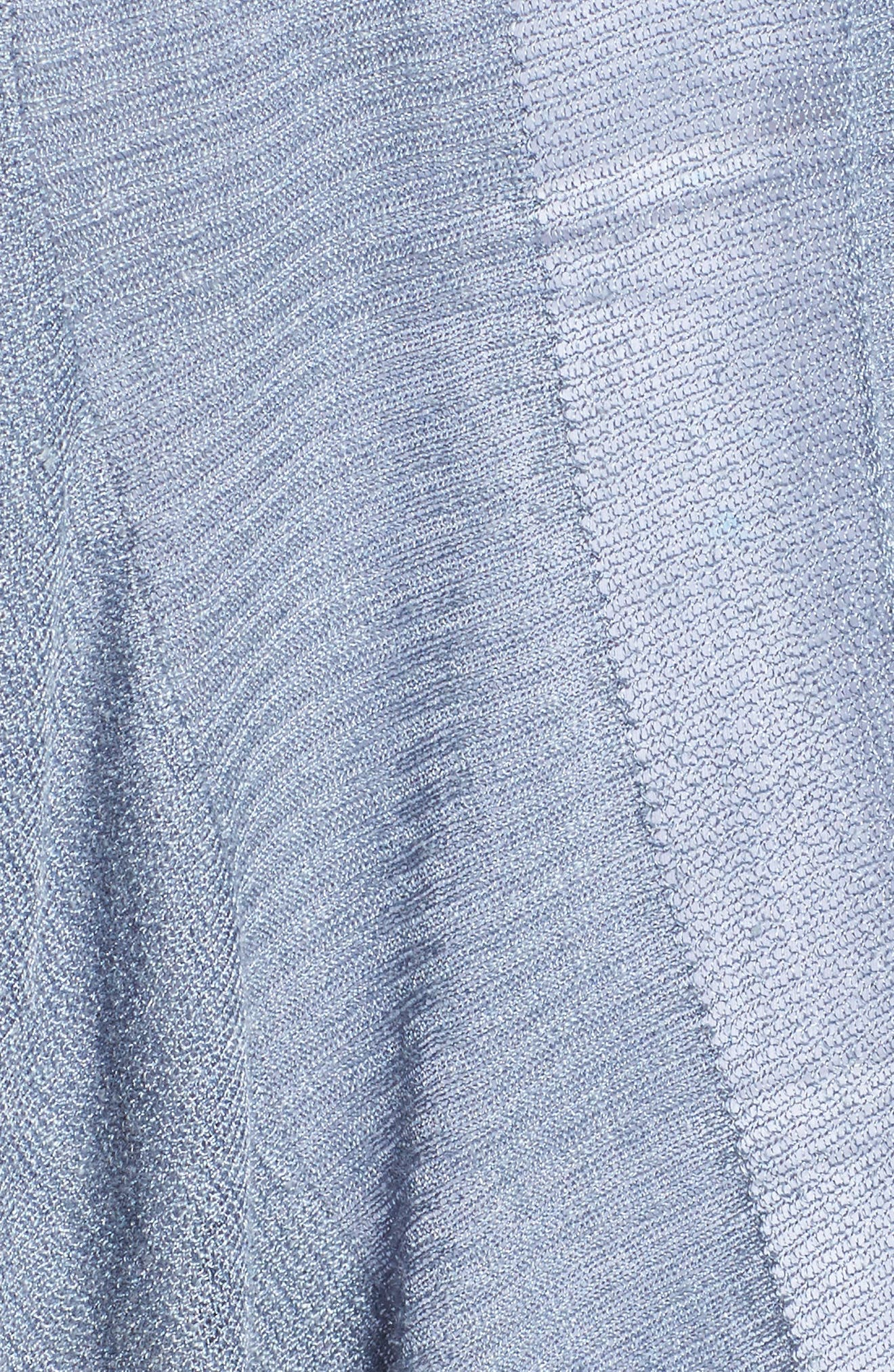 Ruffle Wave Linen Blend Cardigan,                             Alternate thumbnail 5, color,                             LIGHT INDIGO