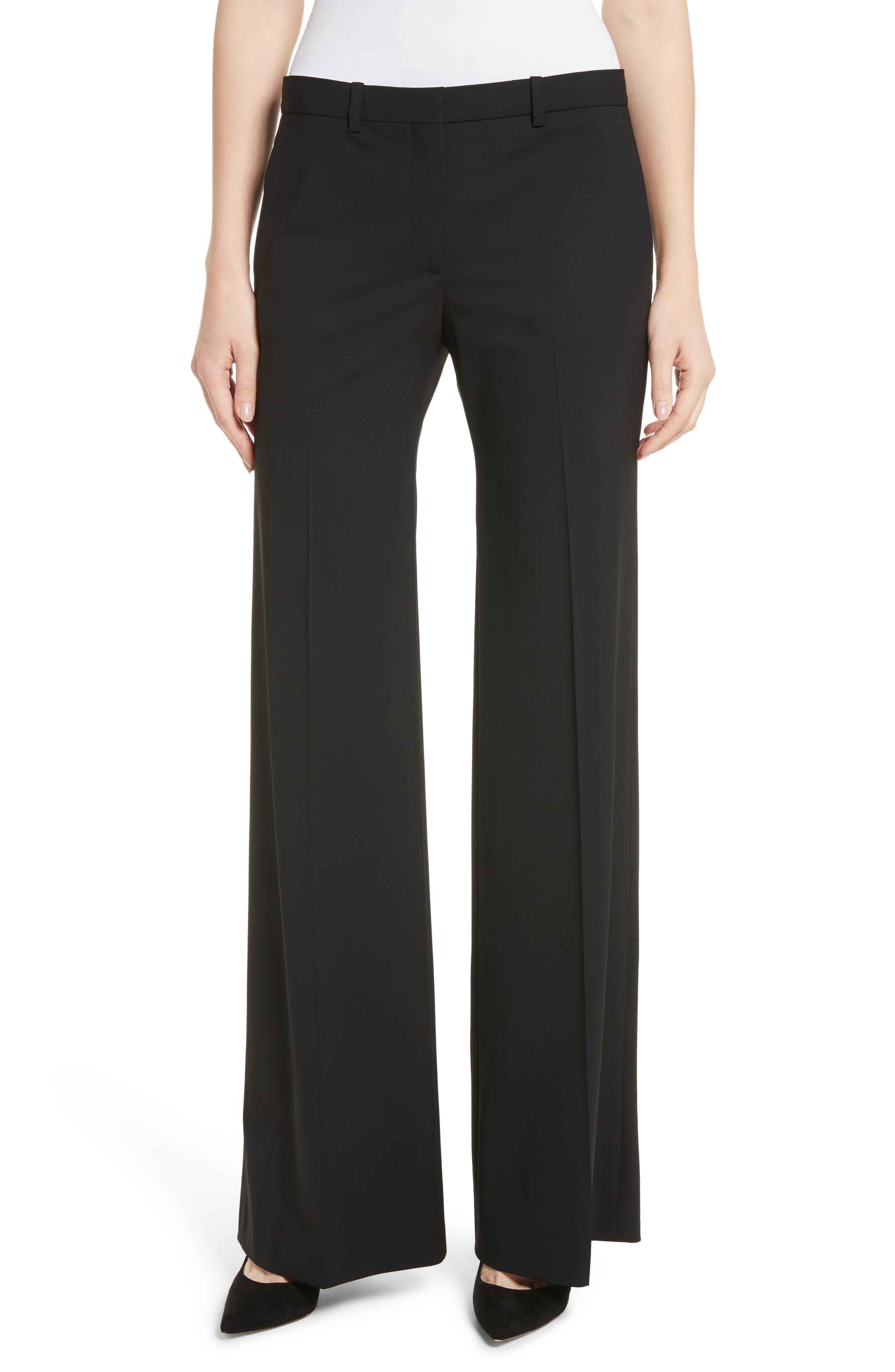 Demetria 2 Flare Leg Good Wool Suit Pants,                             Main thumbnail 1, color,                             BLACK