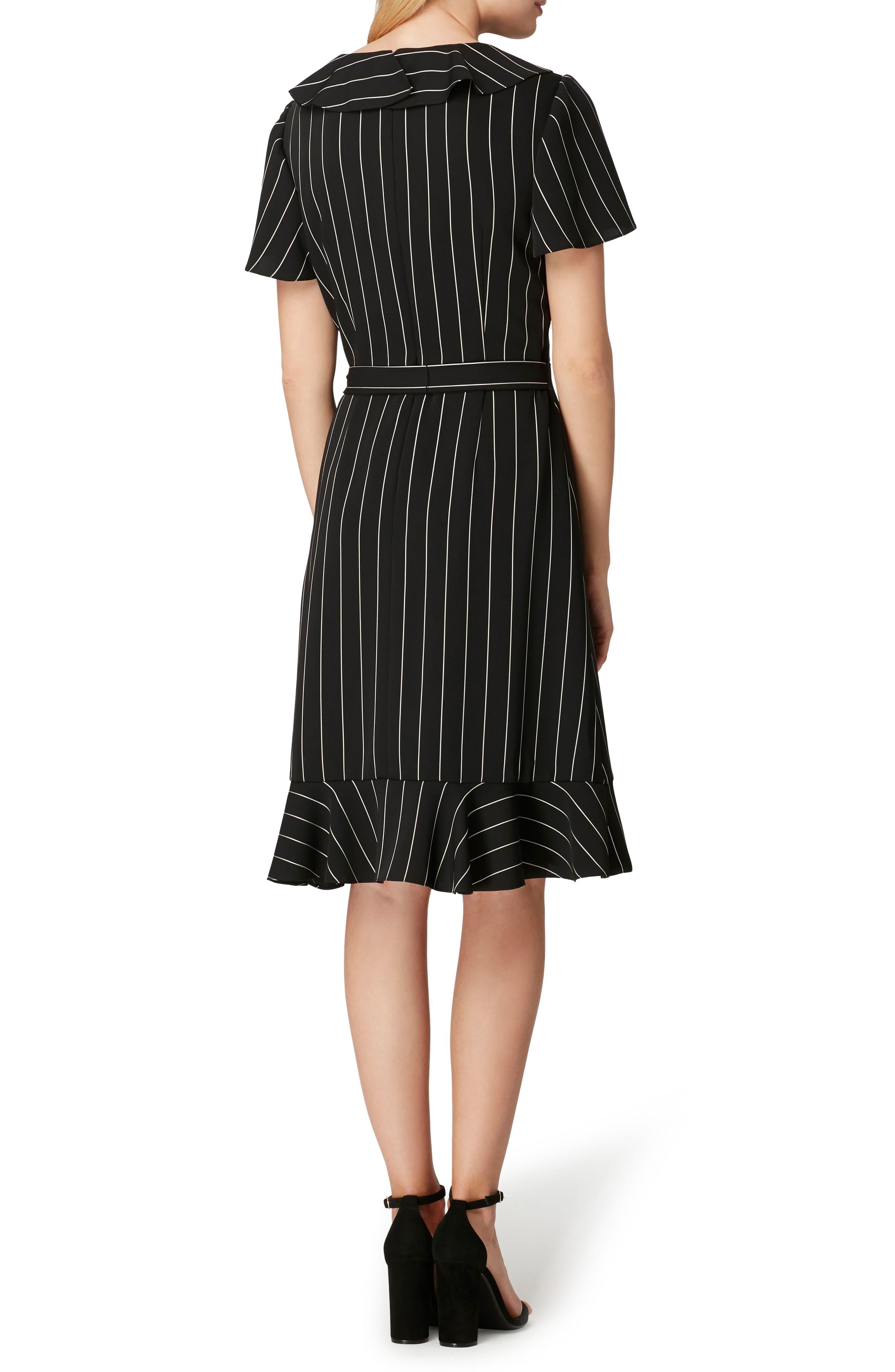 Stripe Ruffle Faux Wrap Dress,                             Alternate thumbnail 2, color,                             003