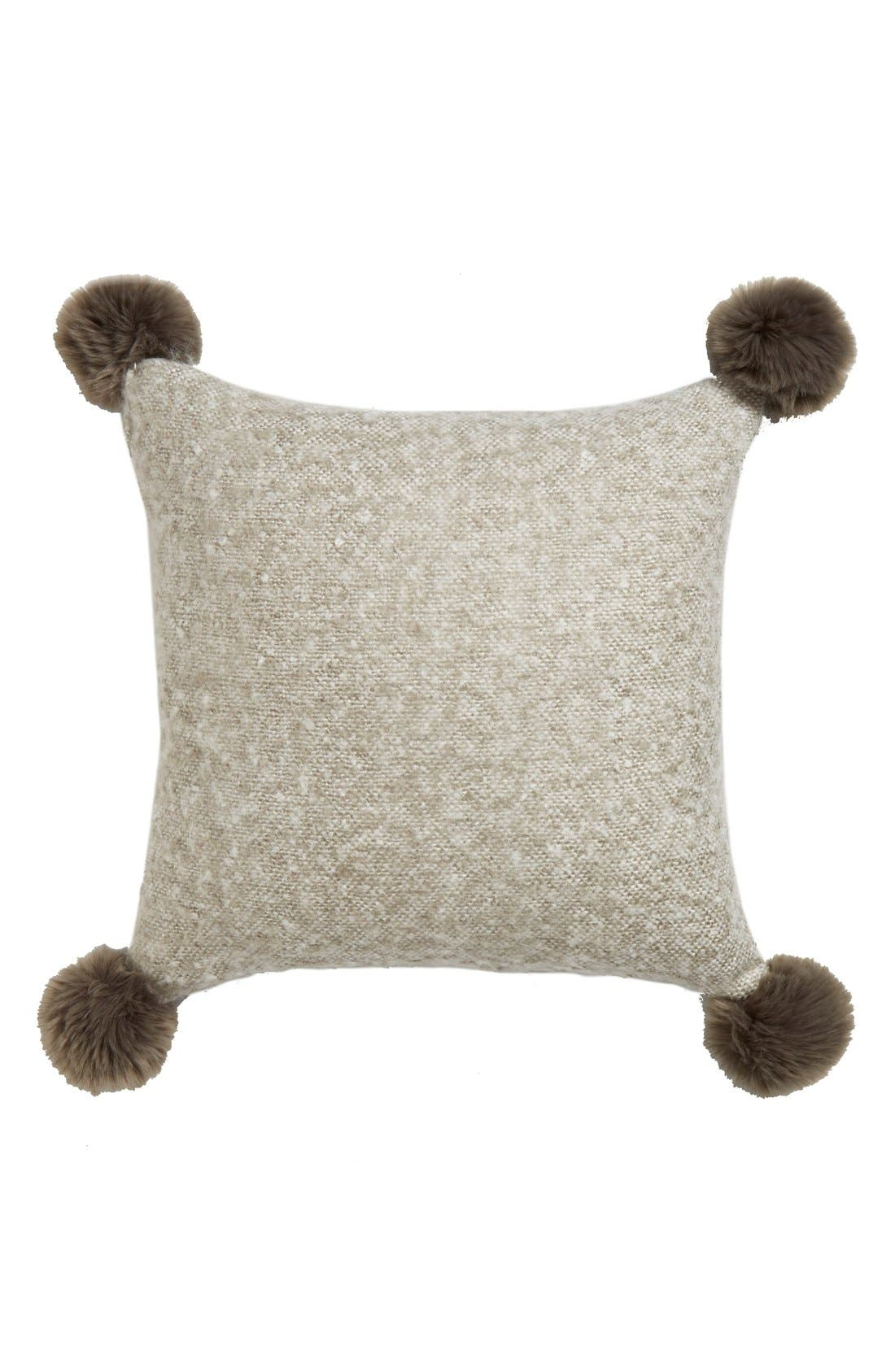 Brushed Accent Pillow with Pompoms,                             Main thumbnail 2, color,
