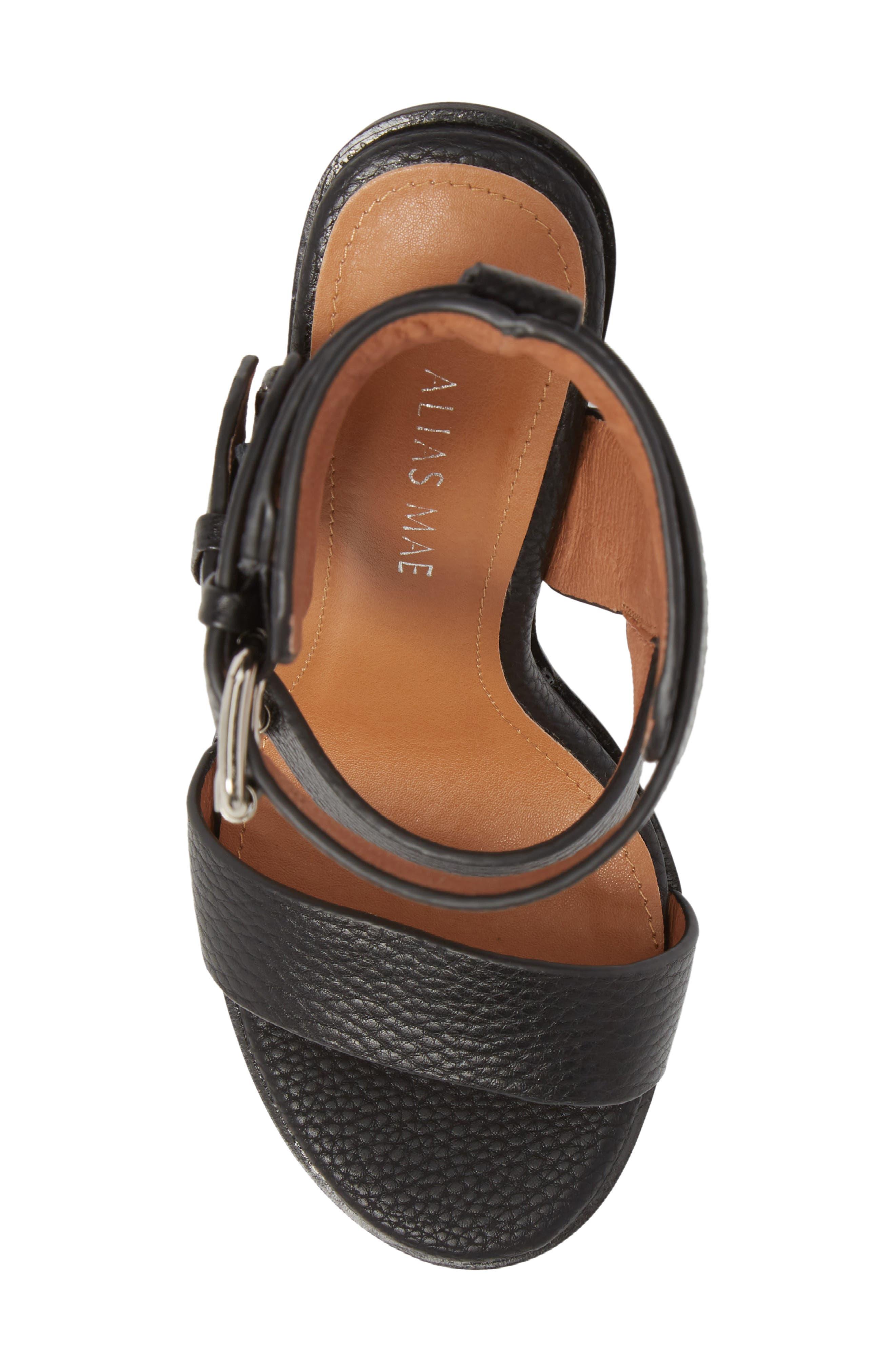 Abeba Block Heel Sandal,                             Alternate thumbnail 5, color,                             BLACK LEATHER