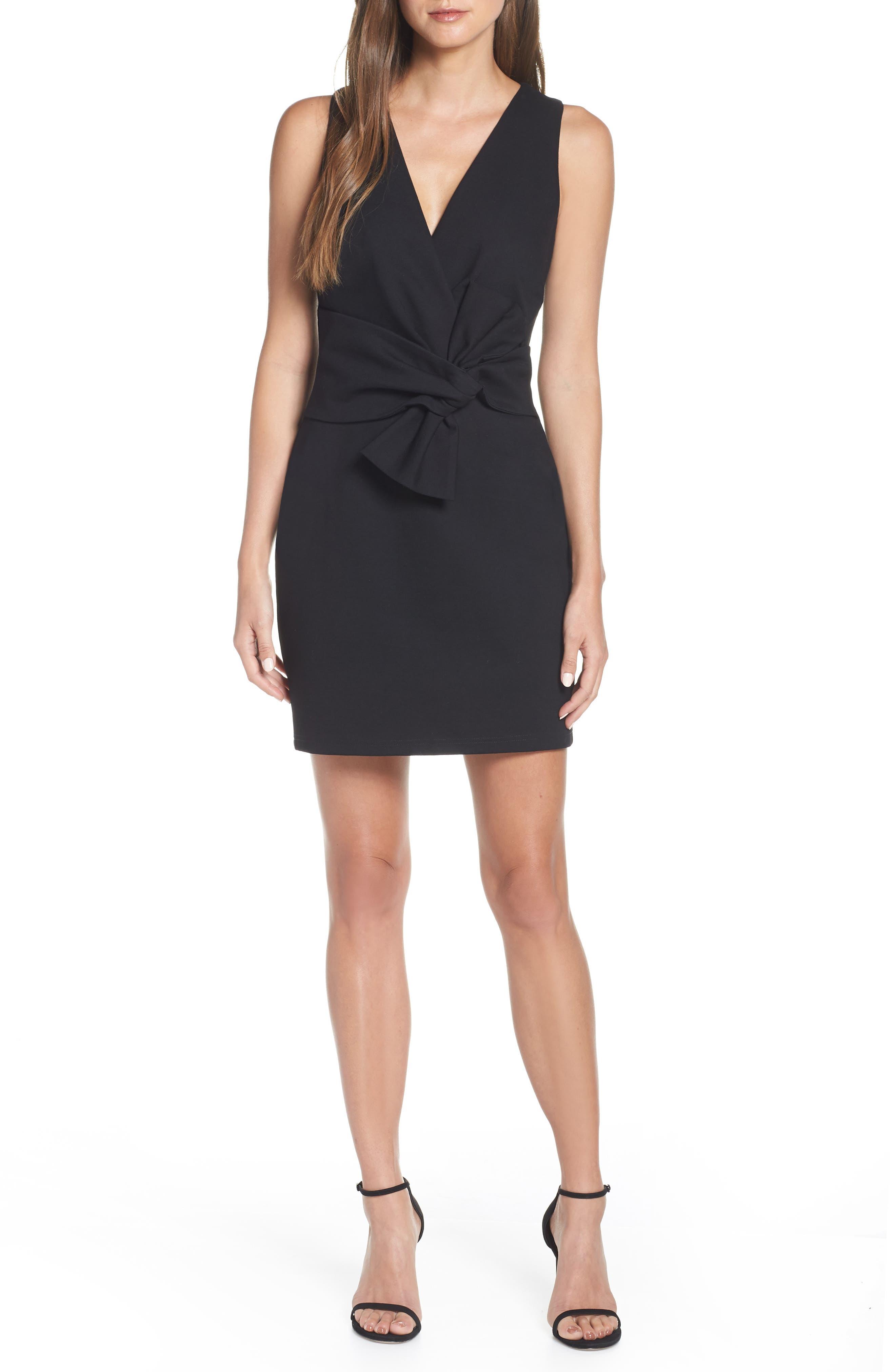 Adelyn Rae Gillian Tie Front Ponte Dress, Black
