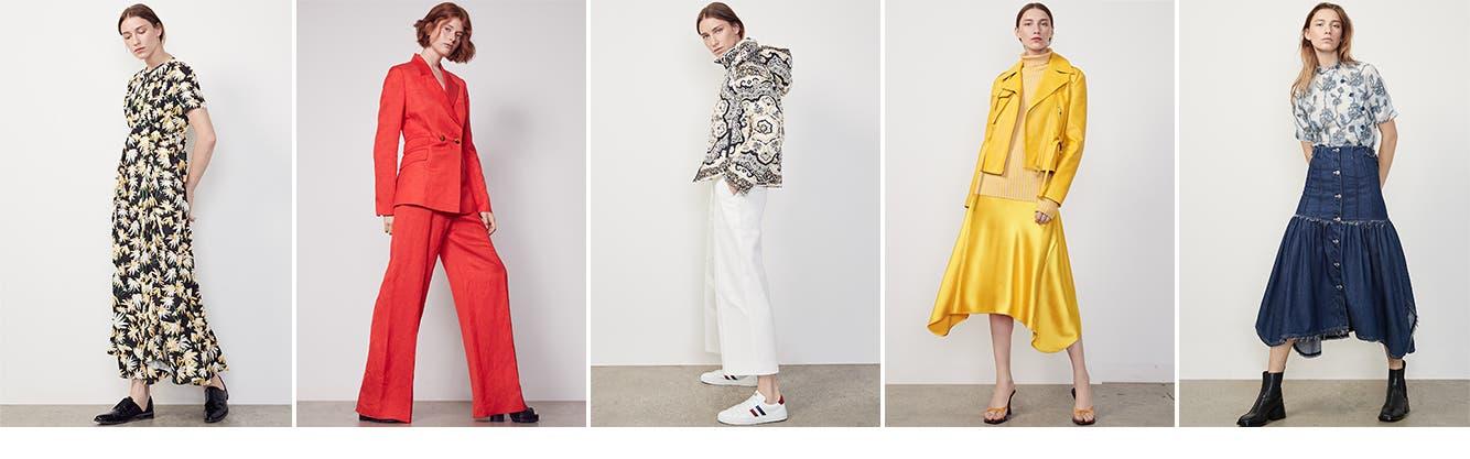 Loewe designer dress. Partow designer suit. Moncler designer coat. Sies Marjan designer skirt. Chloé designer top.