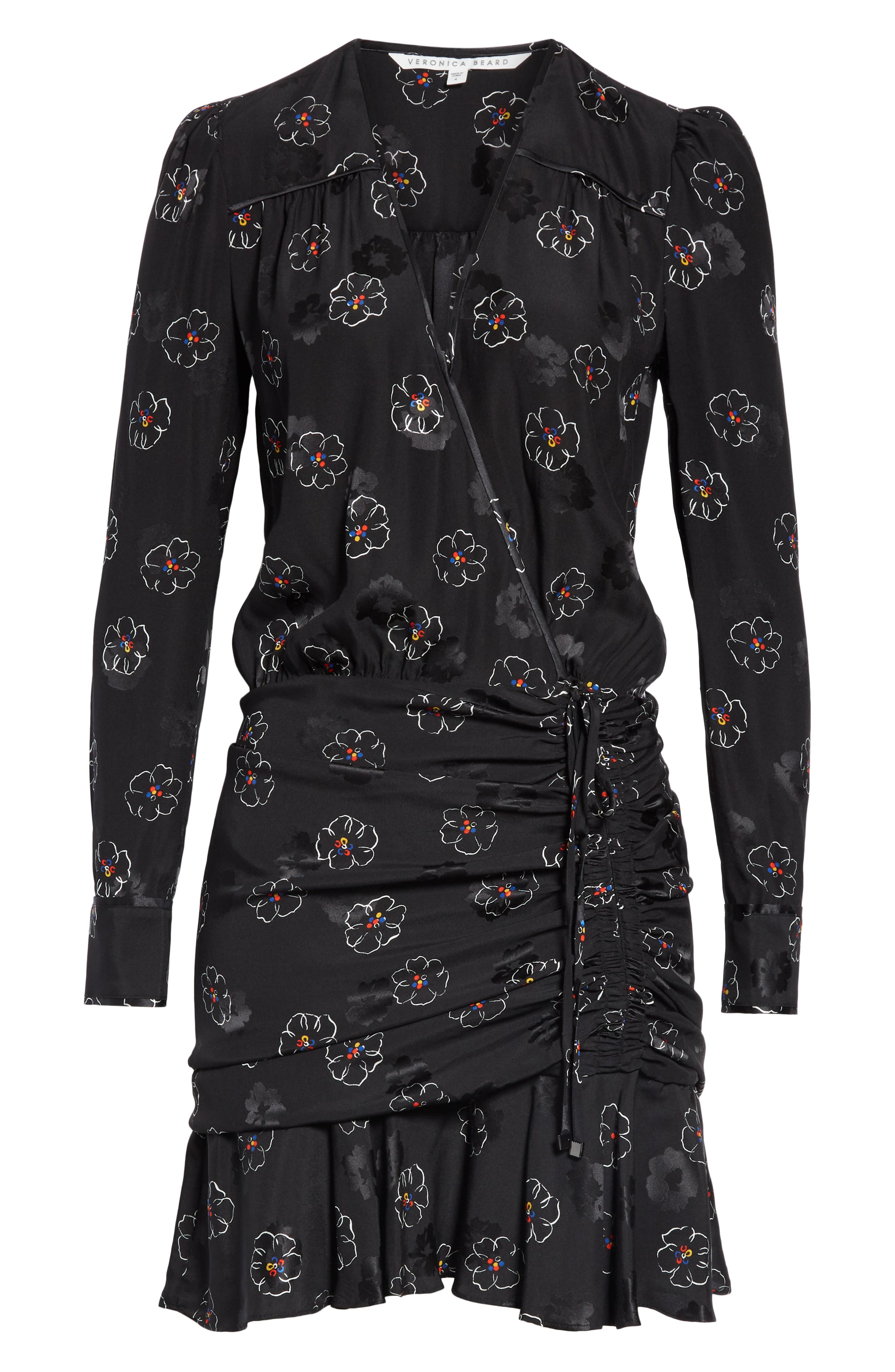 Anders Floral Print Stretch Silk Dress,                             Alternate thumbnail 6, color,                             BLACK MULTI