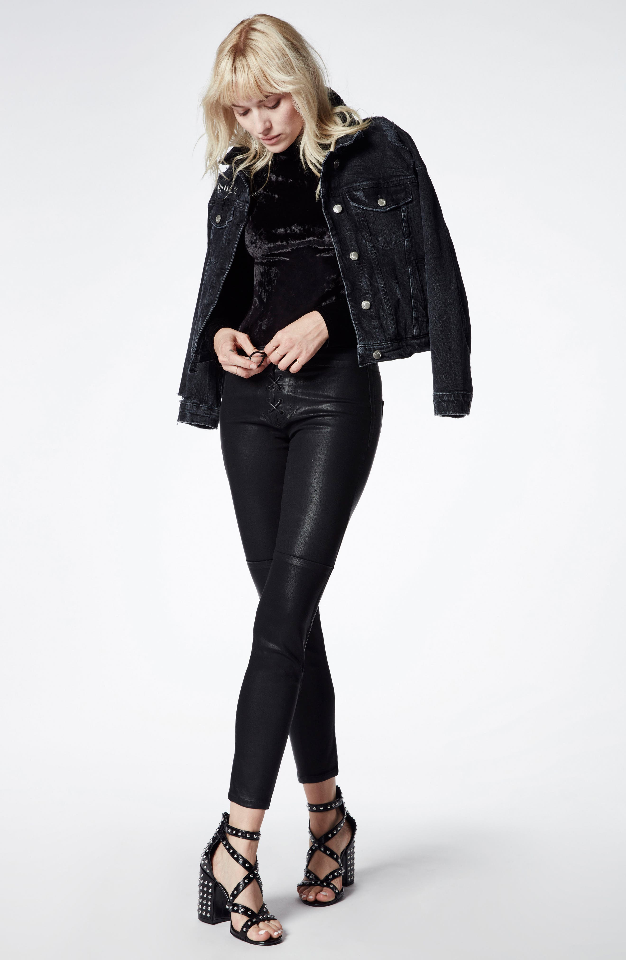 Taylor Hill x Joe's Icon Coated Ankle Skinny Pants,                             Alternate thumbnail 4, color,                             011