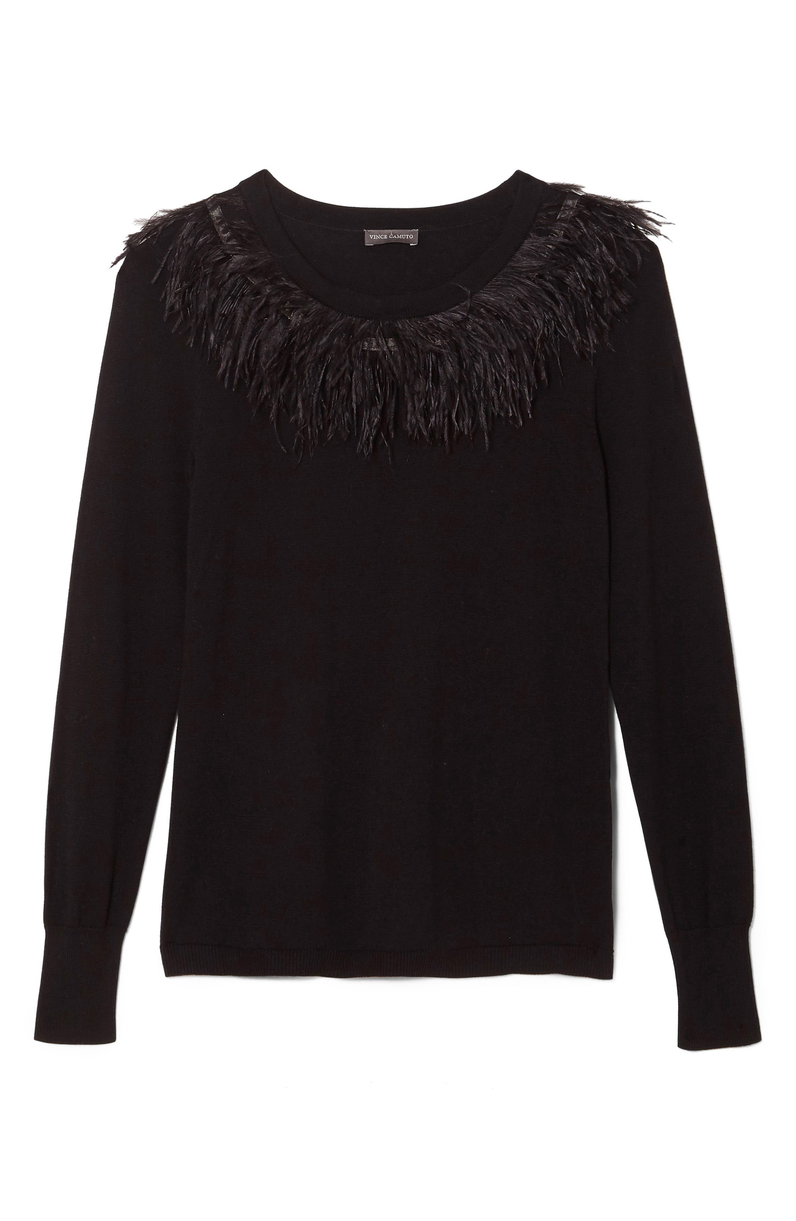 VINCE CAMUTO,                             Feather Collar Sweater,                             Alternate thumbnail 6, color,                             006