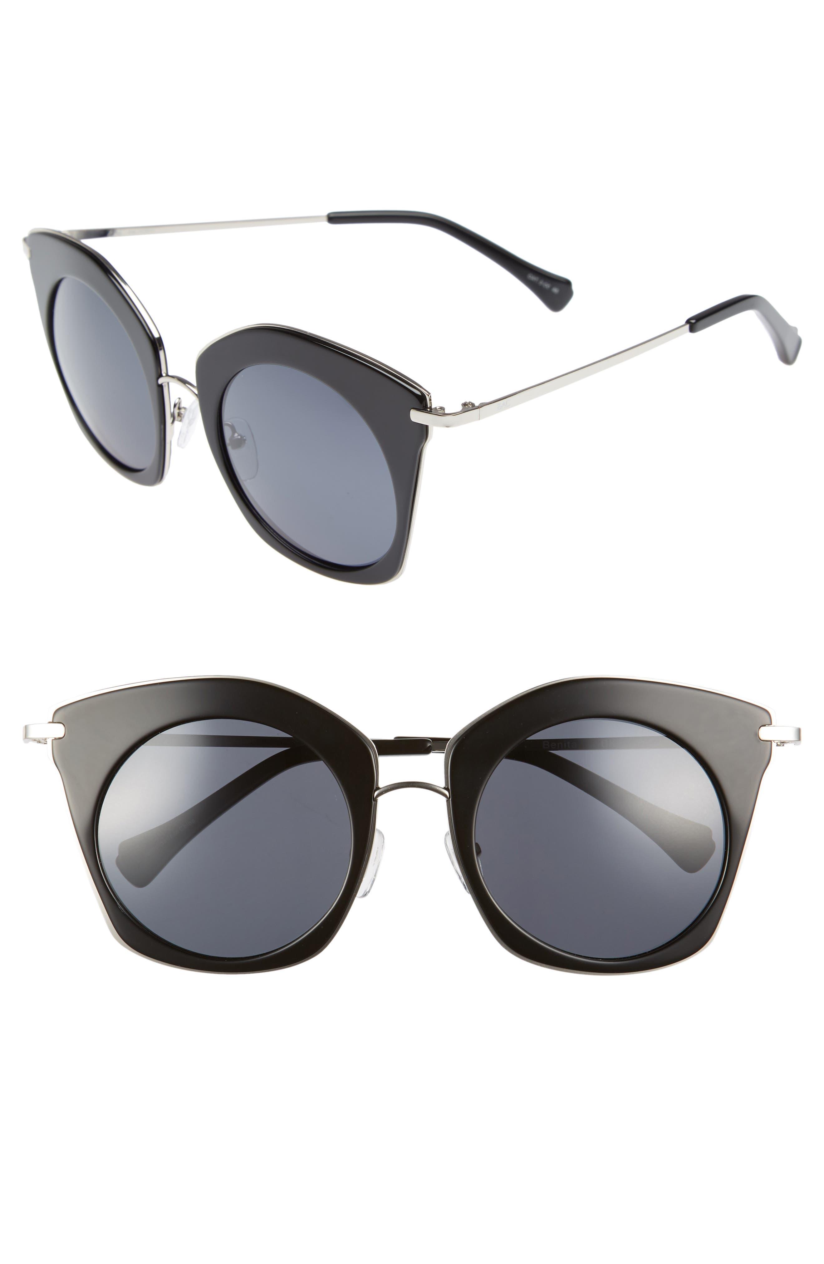 Benita 52mm Polarized Sunglasses,                         Main,                         color, BLACK POLAR