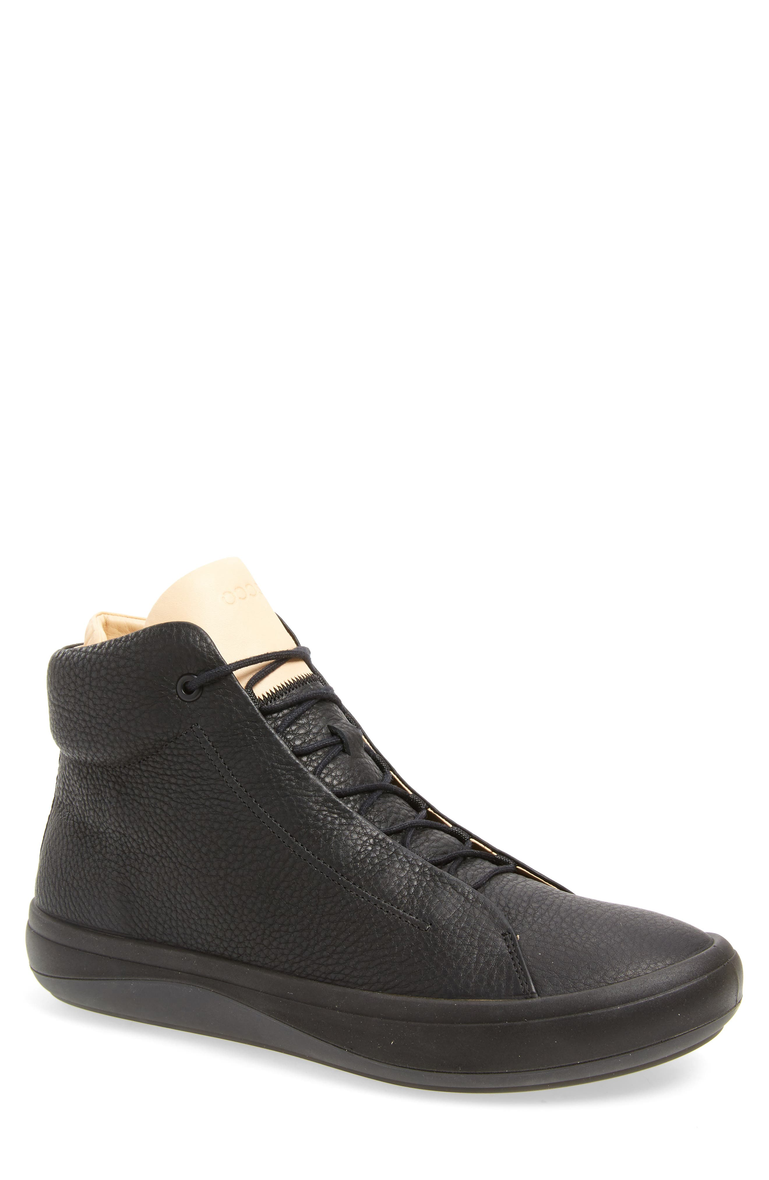 Kinhin Mid Sneaker,                         Main,                         color, BLACK LEATHER