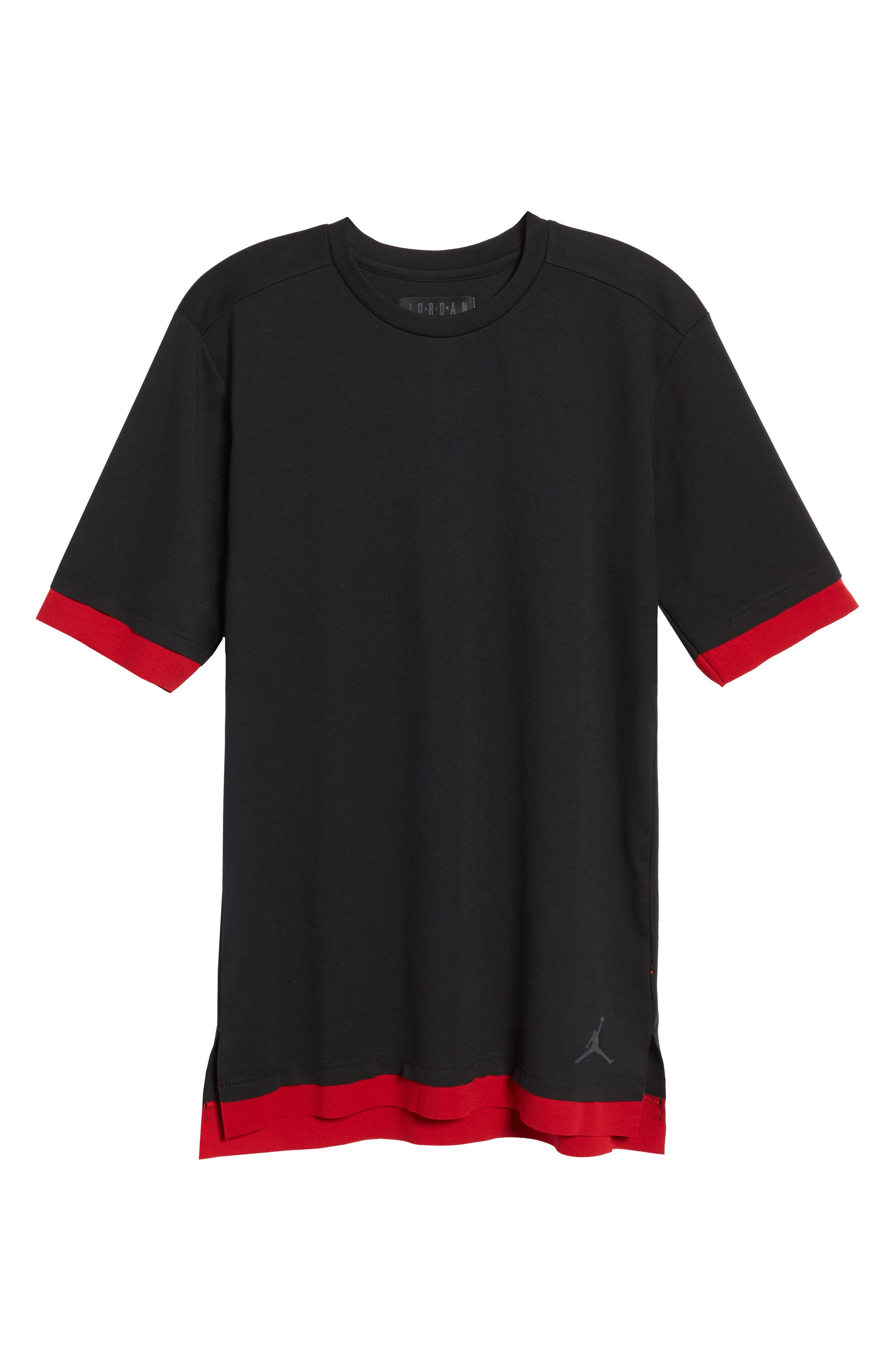 Sportswear Tech T-Shirt,                             Alternate thumbnail 6, color,                             BLACK/ GYM RED/ ANTHRACITE