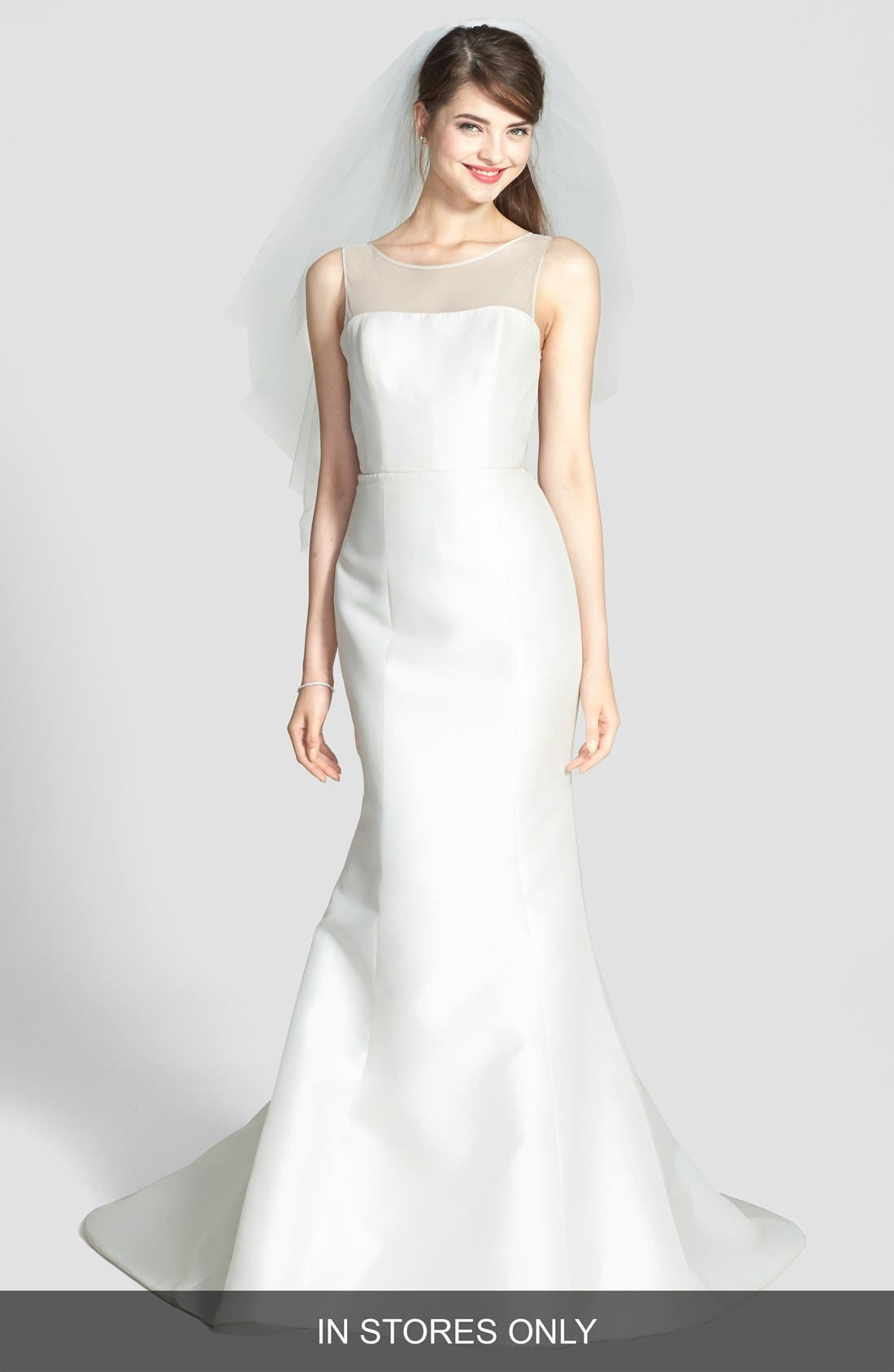 Preston Silk Magnolia Sheath Wedding Dress,                             Main thumbnail 1, color,                             IVORY