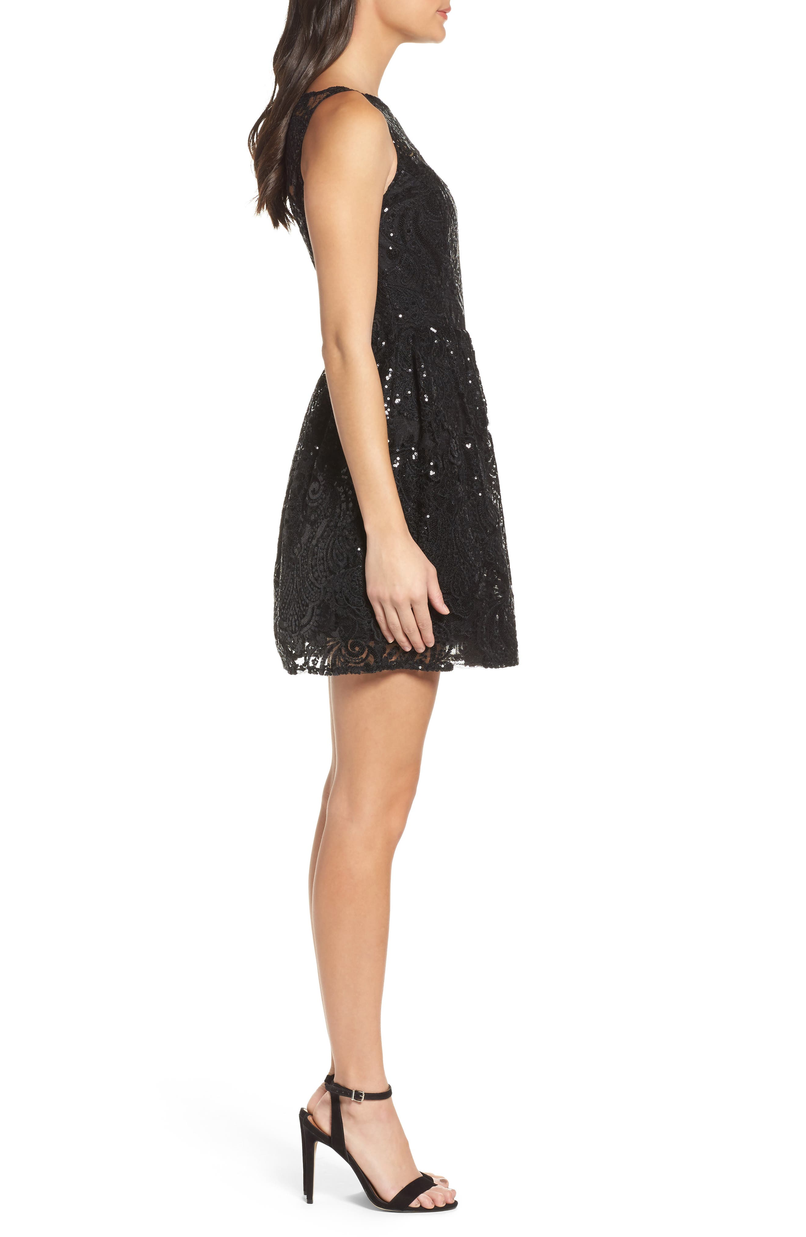 Tate Sequin Fit & Flare Dress,                             Alternate thumbnail 3, color,                             001