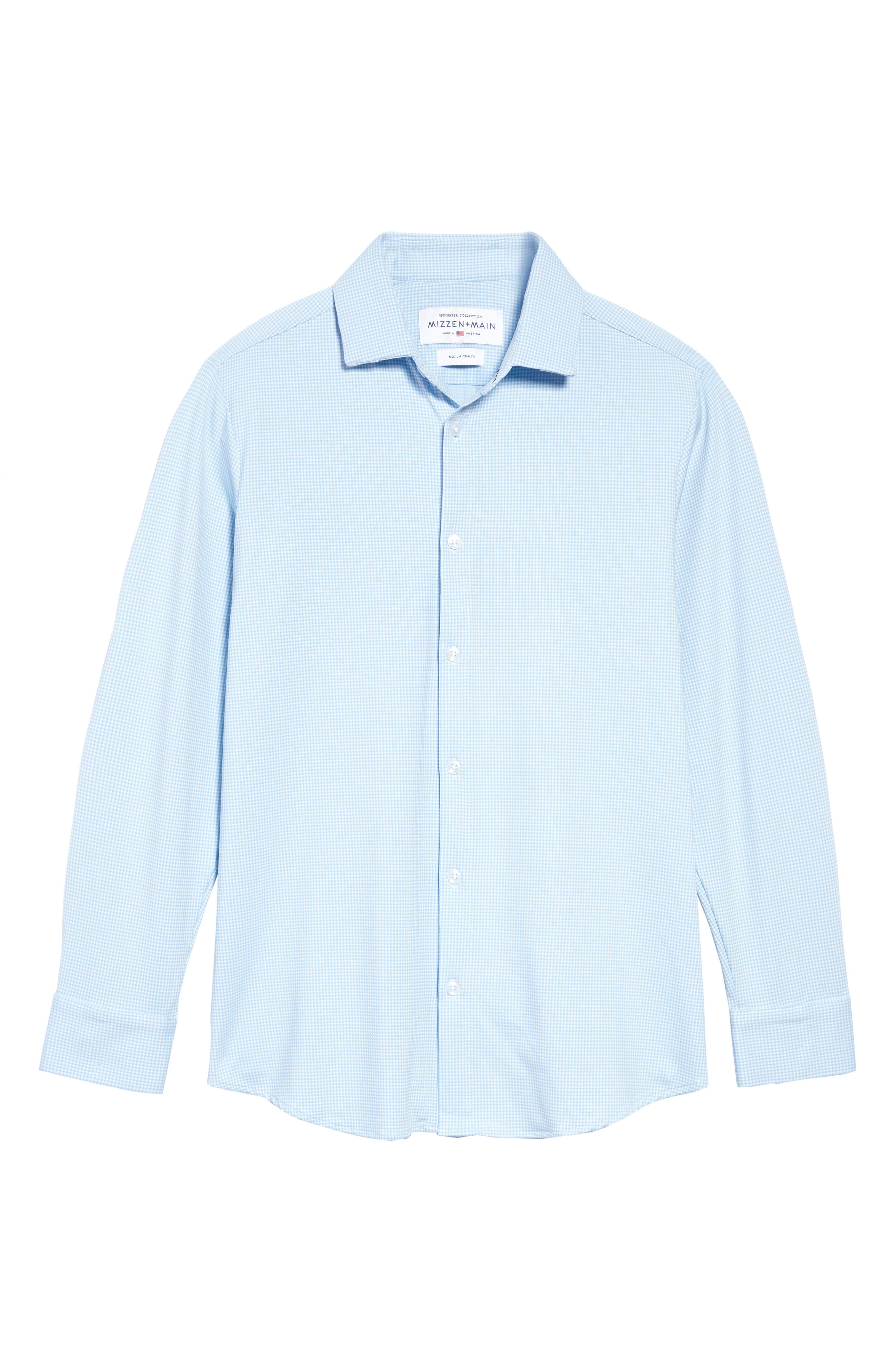 Whitman Dobby Gingham Performance Sport Shirt,                             Alternate thumbnail 6, color,                             BLUE