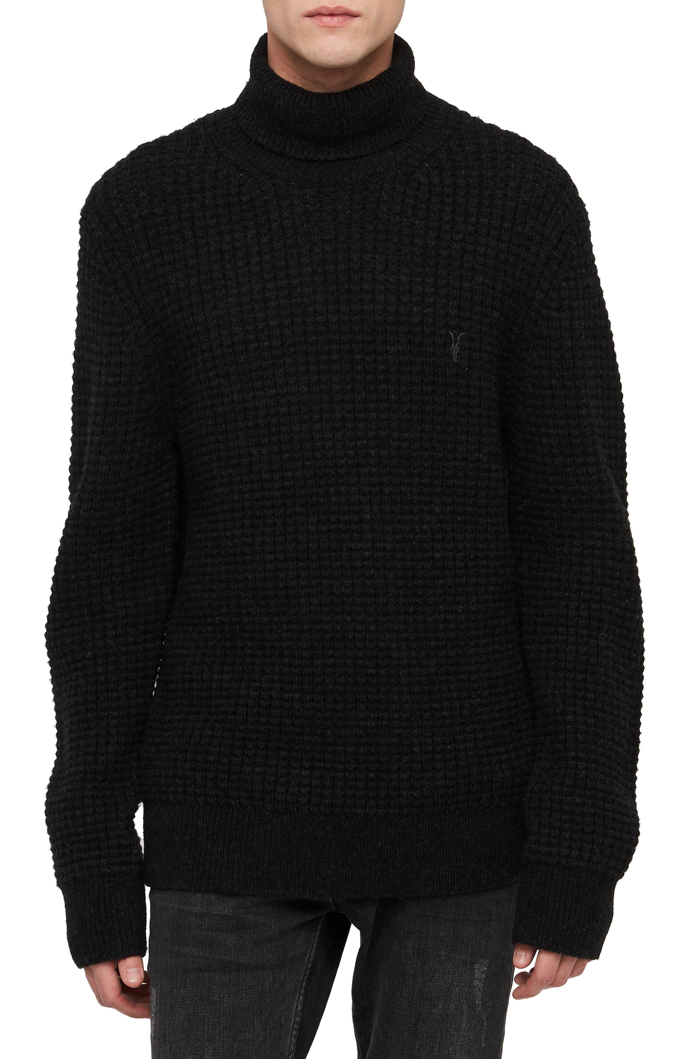 Mast Slim Fit Funnel Neck Sweater,                         Main,                         color, CINDER BLACK MARL