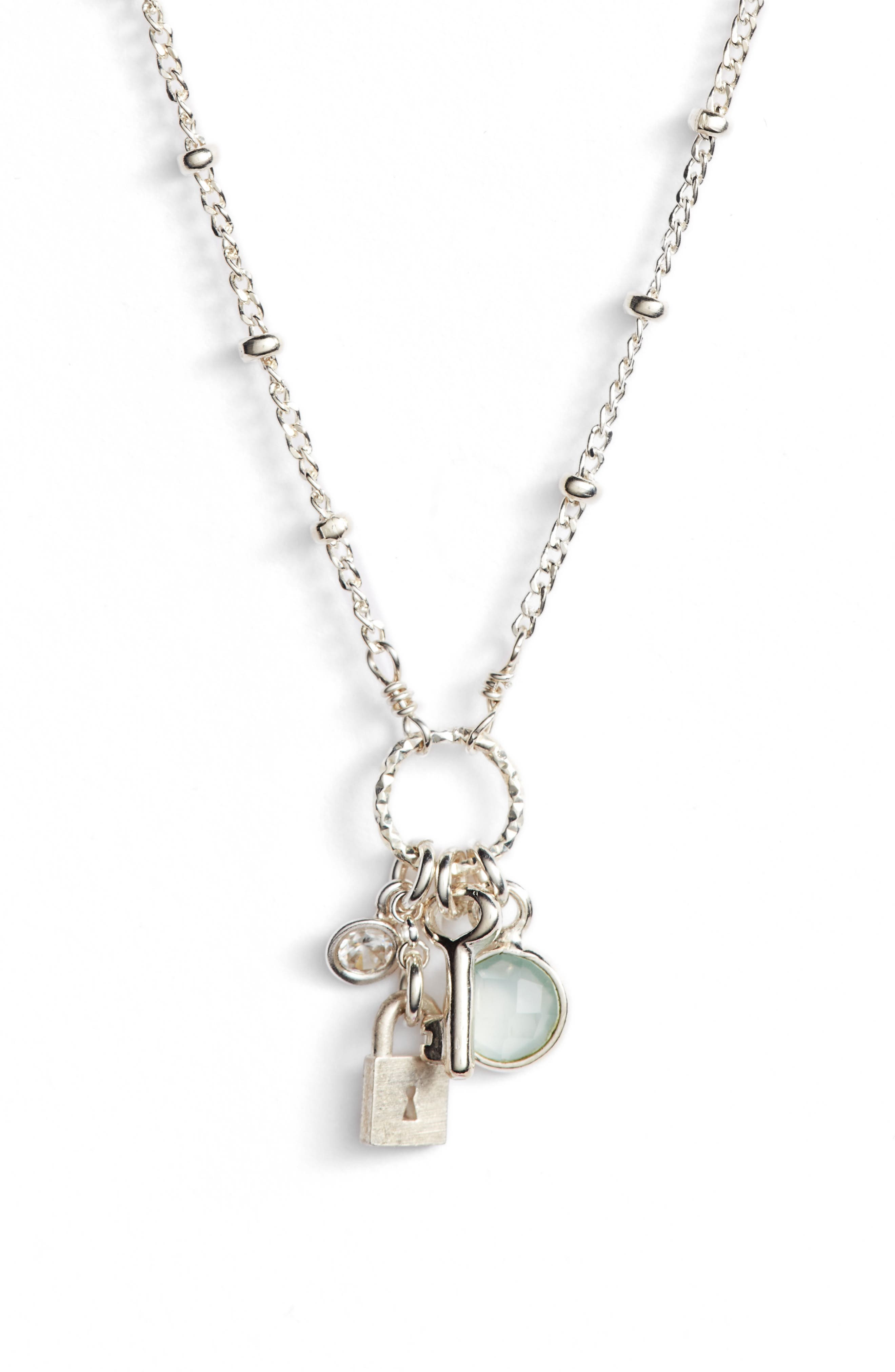 Unlock Your Dreams Lock & Key Charm Pendant Necklace,                             Alternate thumbnail 3, color,                             040