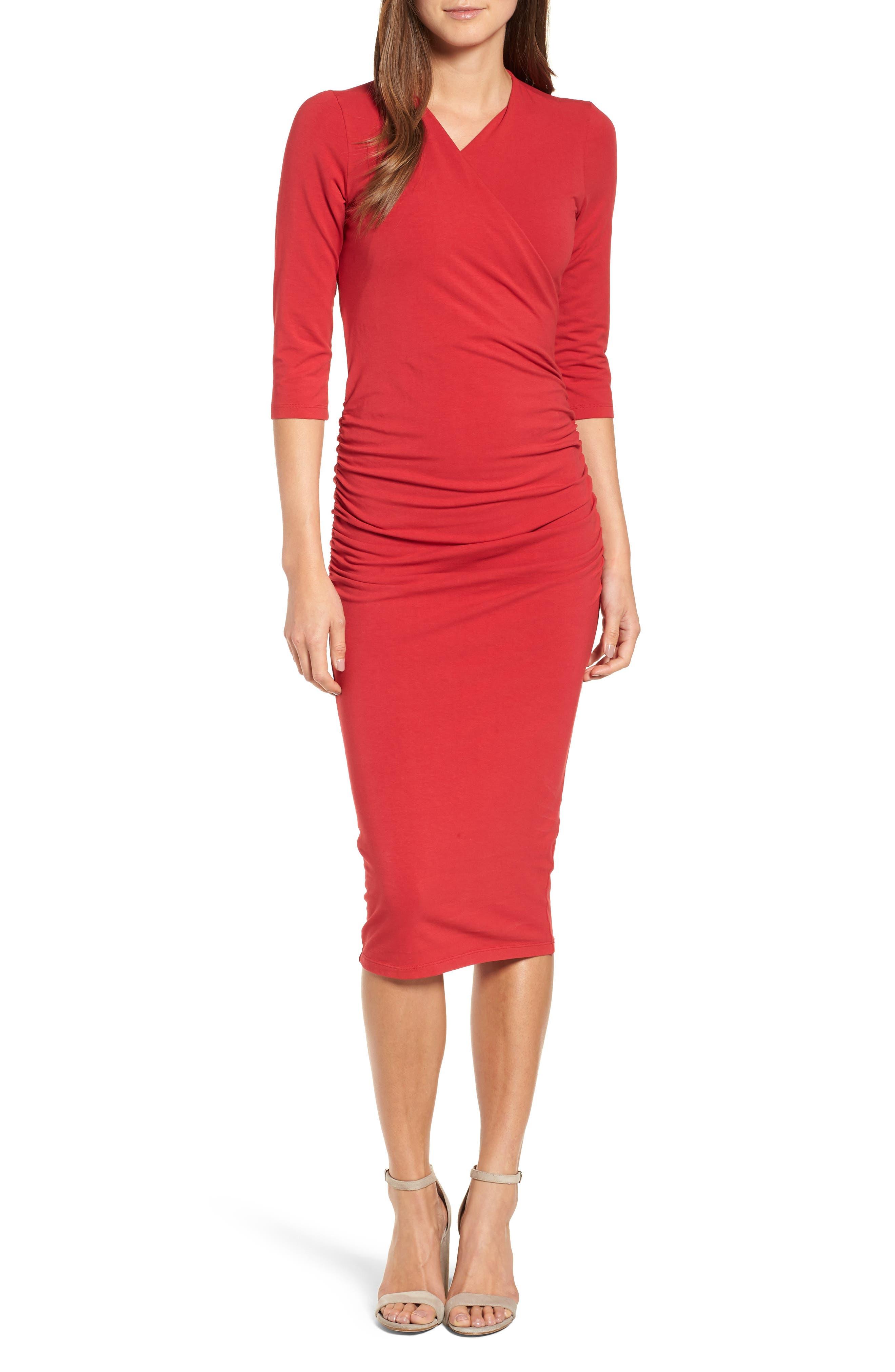 Michael Stars Ruched Surplice Stretch Cotton Body-Con Dress, Red