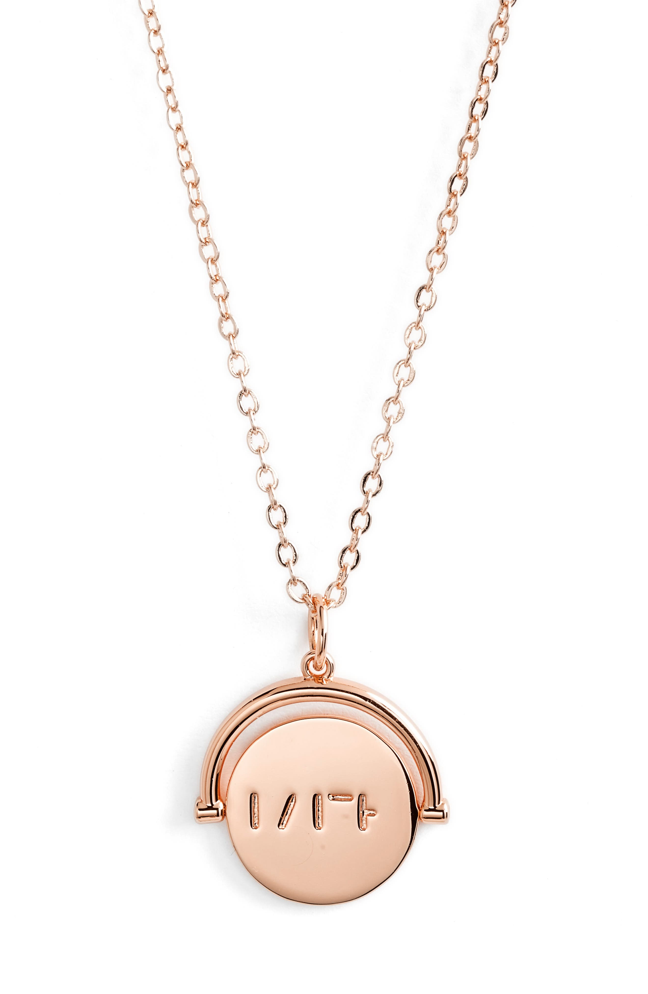 Love Code Spinning Pendant Necklace,                             Main thumbnail 5, color,