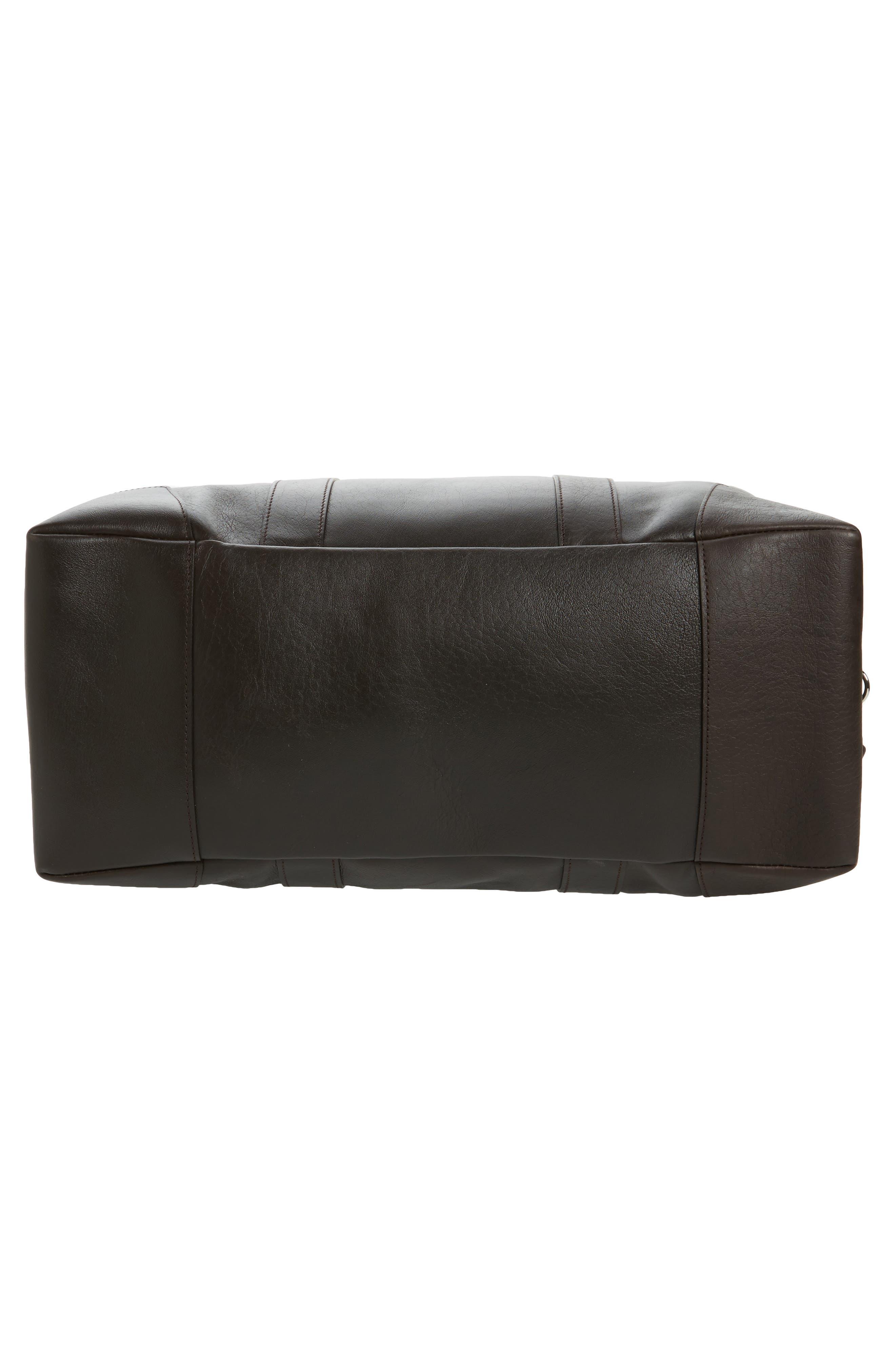 Signature Leather Duffel Bag,                             Alternate thumbnail 6, color,                             DEEP BROWN