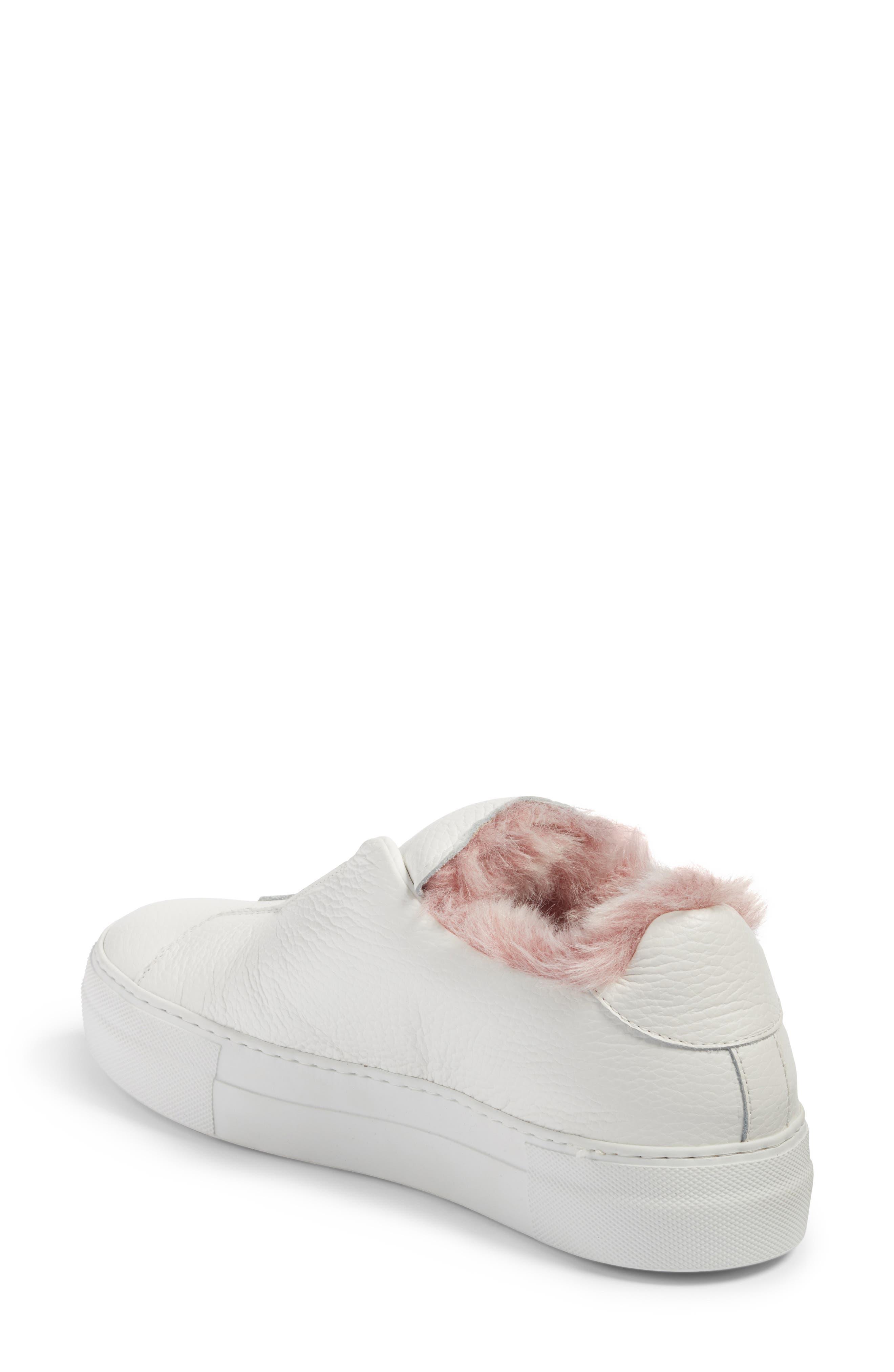 Faux Fur Slip-On Sneaker,                             Alternate thumbnail 4, color,