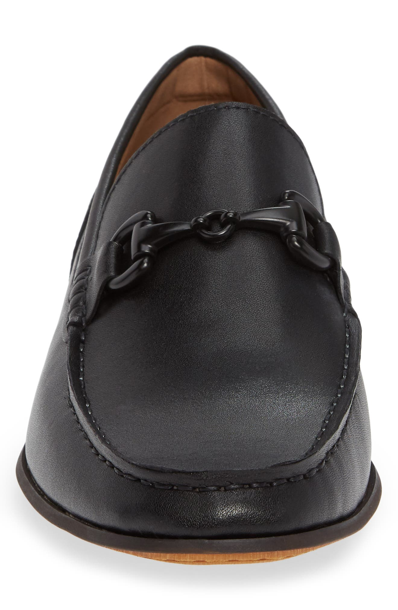 Crespo Loafer,                             Alternate thumbnail 4, color,                             BLACK SYNTHETIC LEATHER