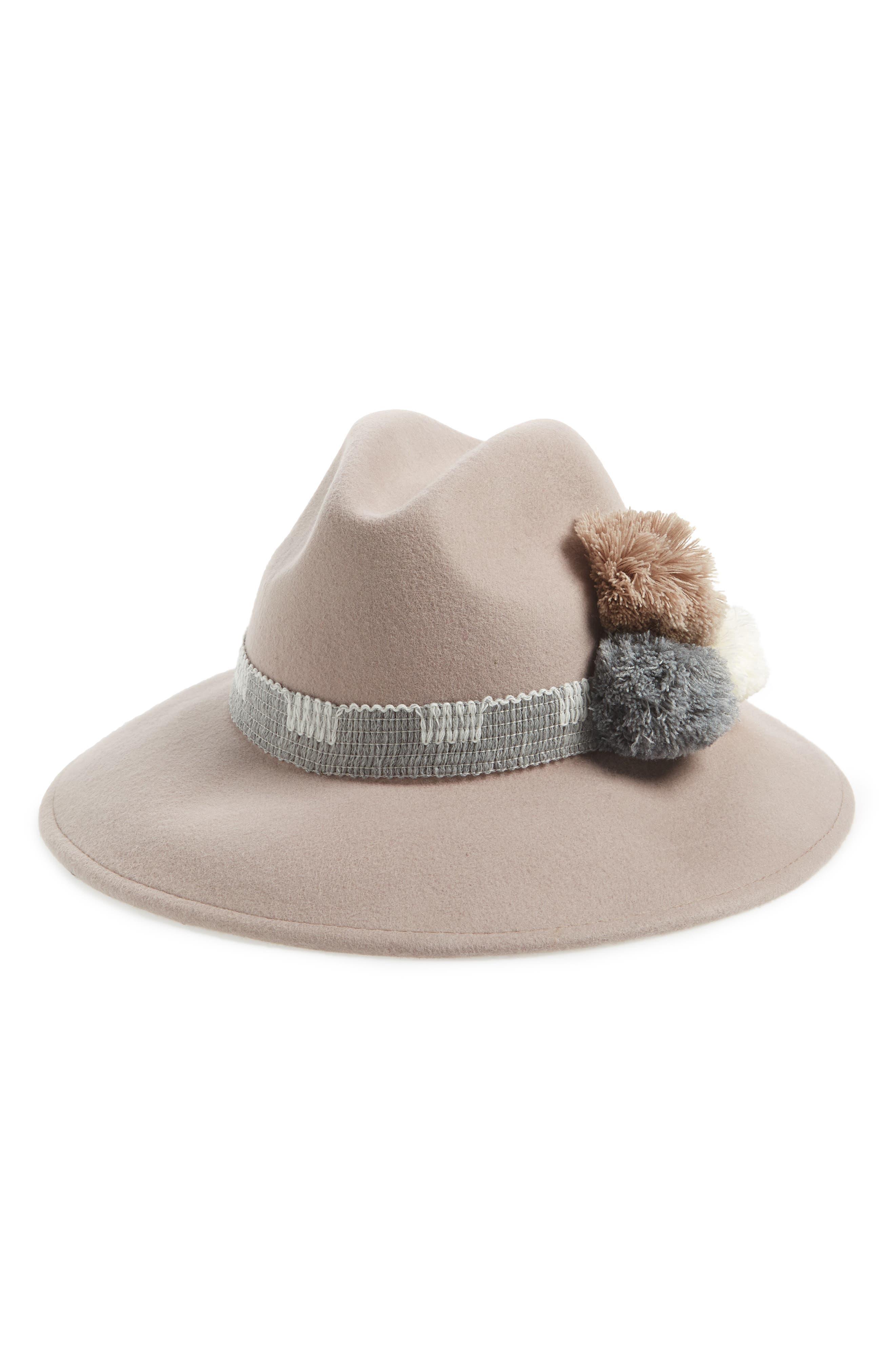 Pompom Wool Fedora,                         Main,                         color, 100