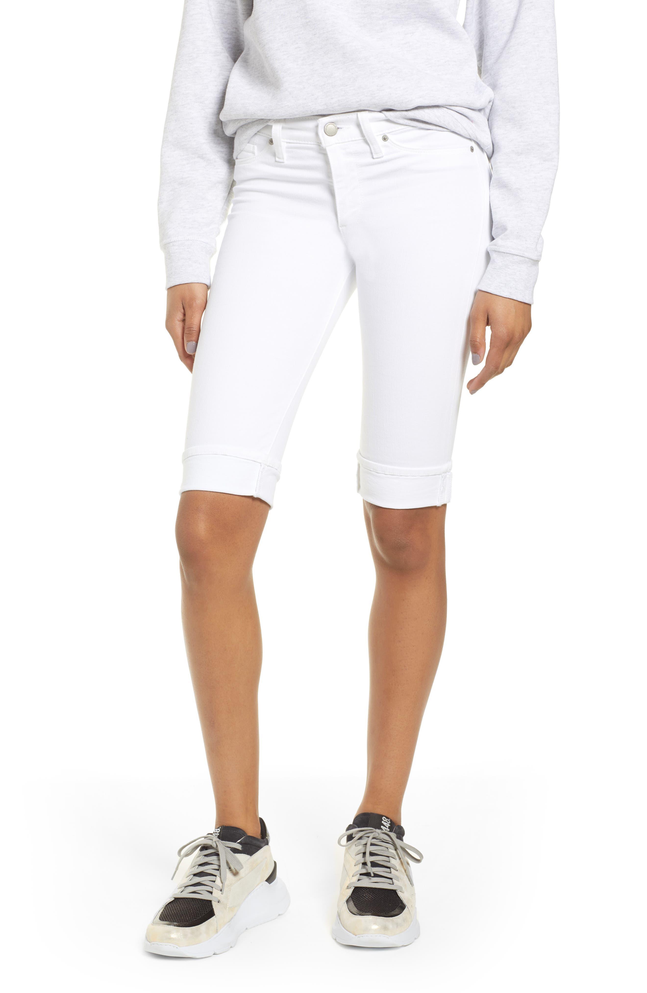 Amelia Cuff Bermuda Shorts, Main, color, WHITE
