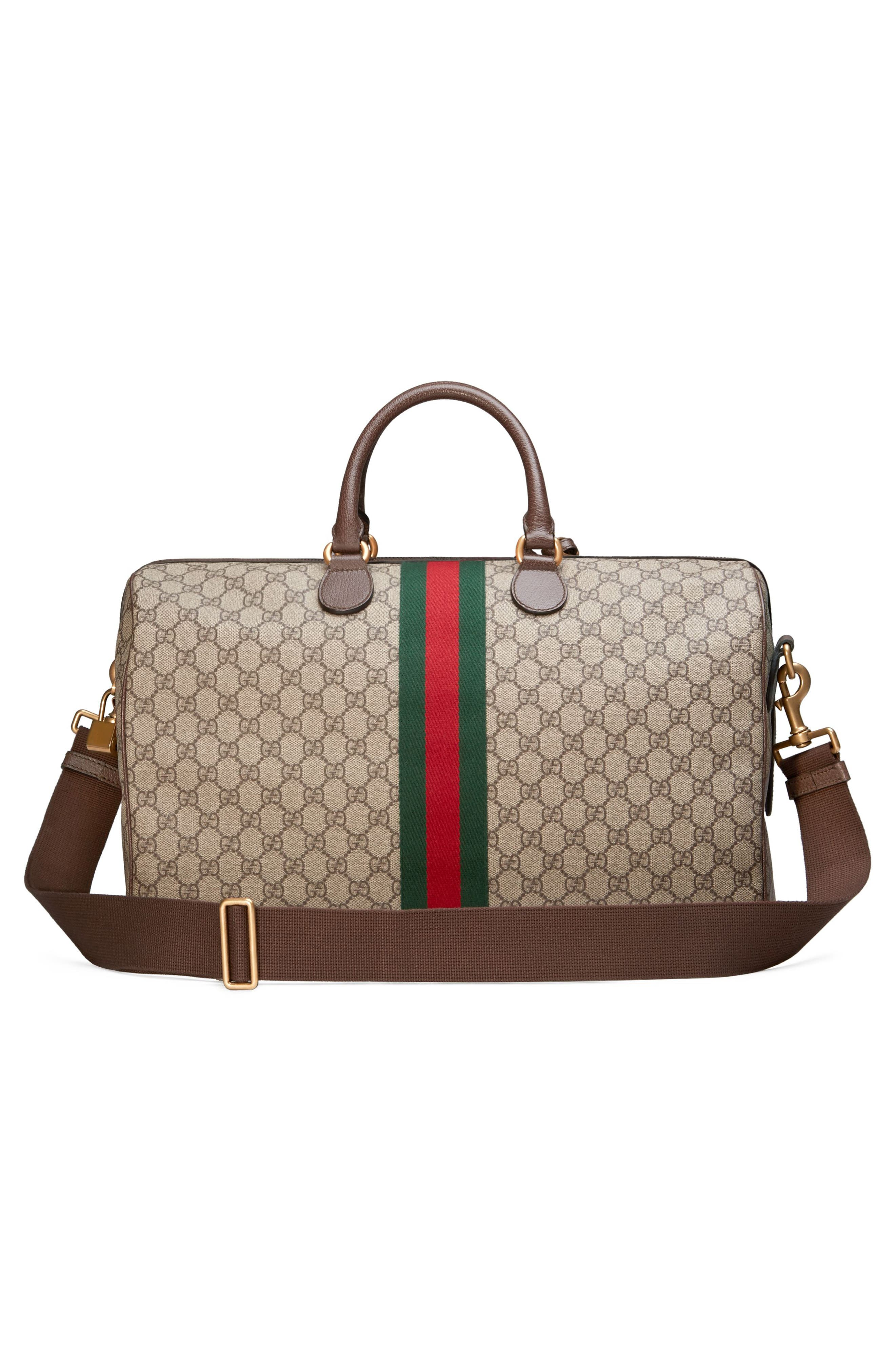 GUCCI,                             Medium Ophidia GG Supreme Carry-On Duffel,                             Alternate thumbnail 4, color,                             BEIGE EBONY/ NEW ACERO