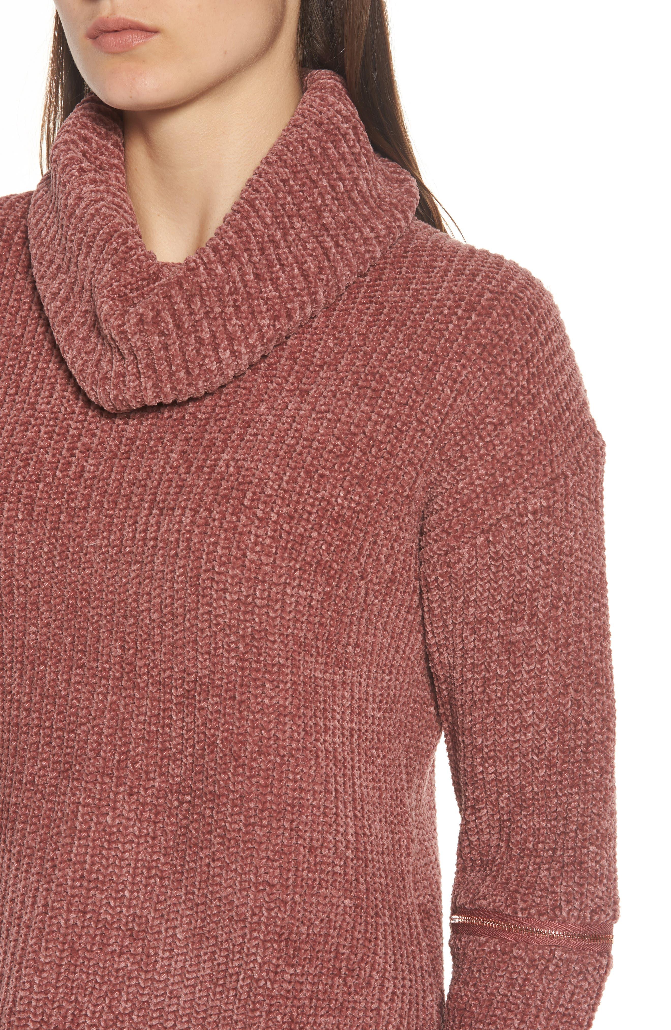 Zip Sleeve Turtleneck Sweater,                             Alternate thumbnail 4, color,                             566