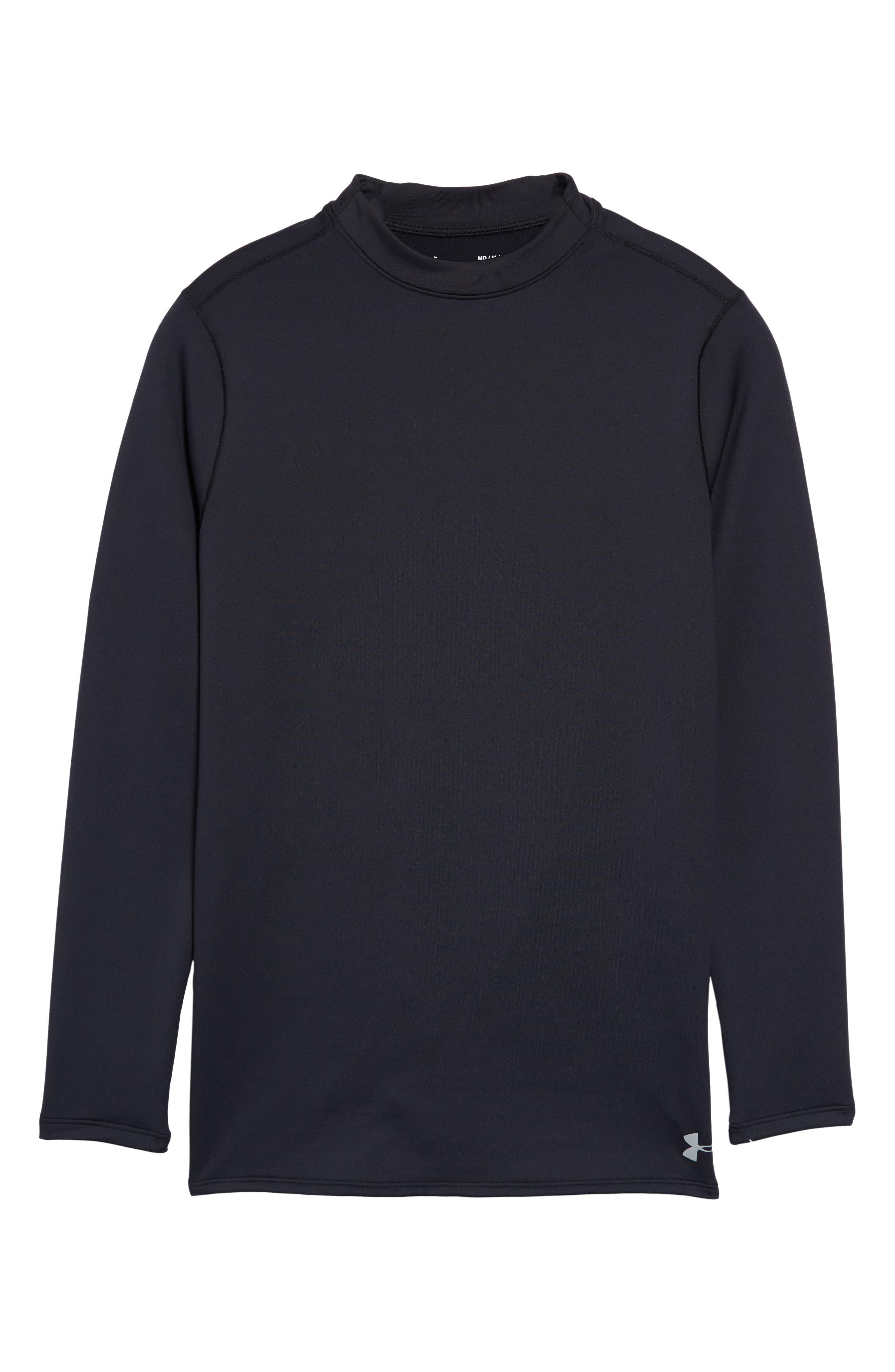 ColdGear<sup>®</sup> Mock Neck Long Sleeve T-Shirt,                             Alternate thumbnail 6, color,                             BLACK/ STEEL