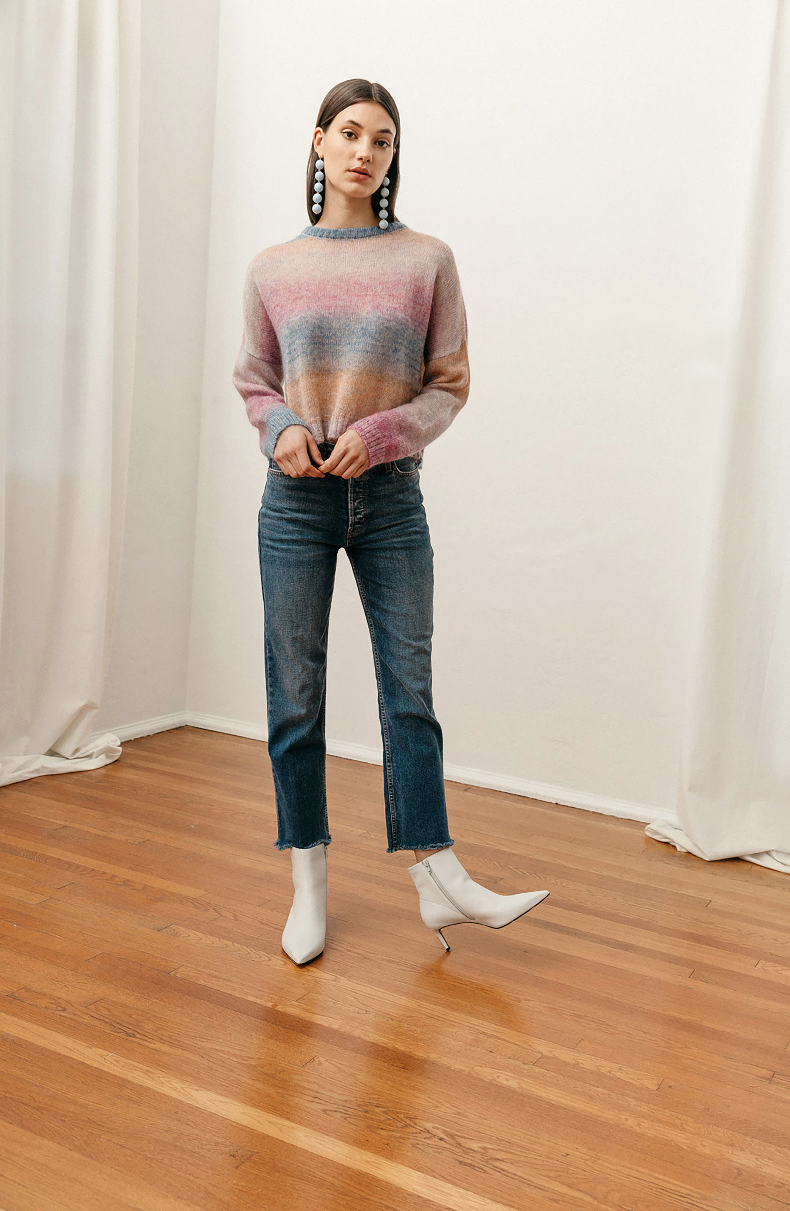 Camille Stripe Sweater,                             Alternate thumbnail 8, color,                             RAINBOW